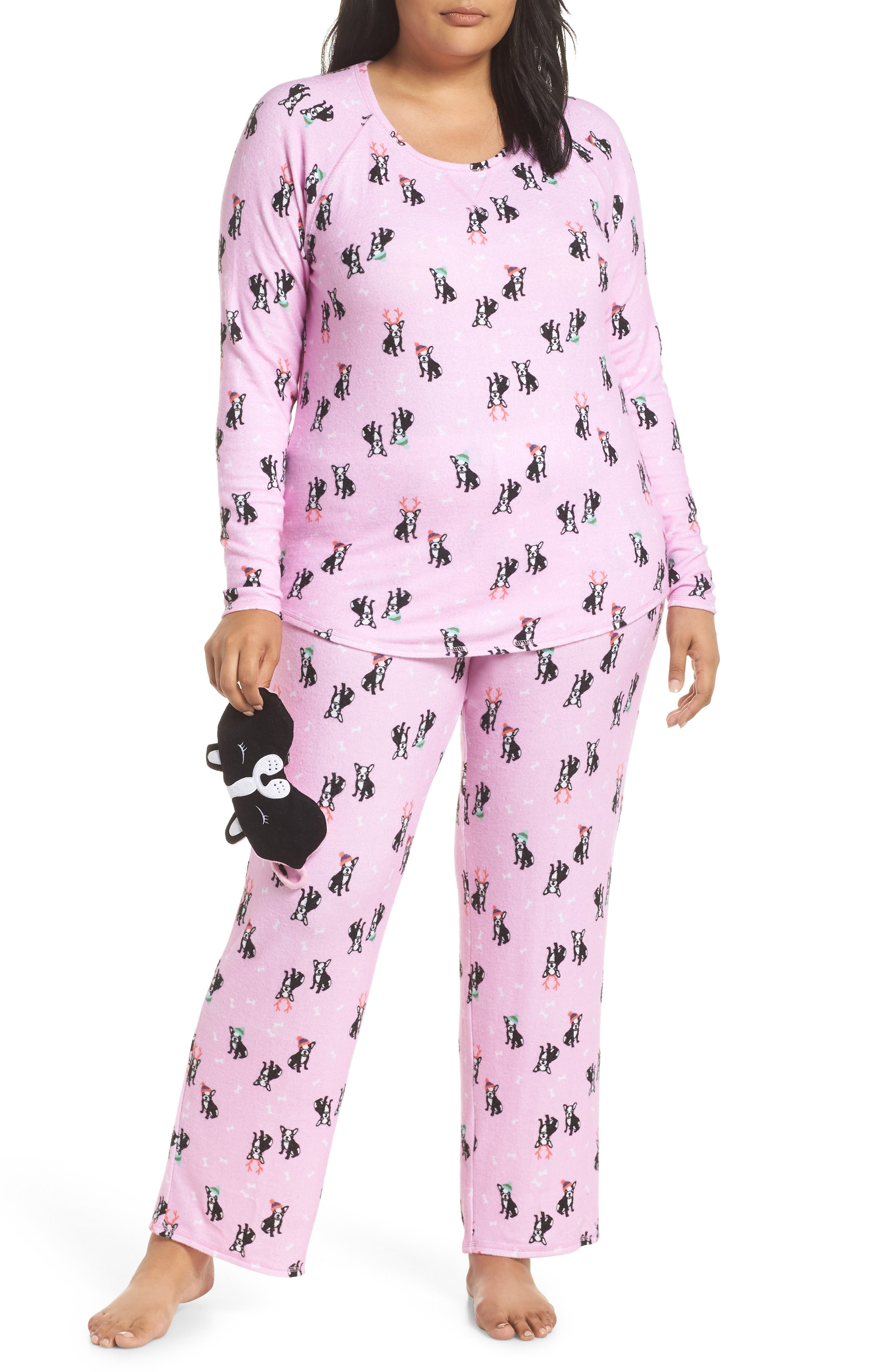 Plus Size Make + Model Knit Pajamas & Sleep Mask, Pink