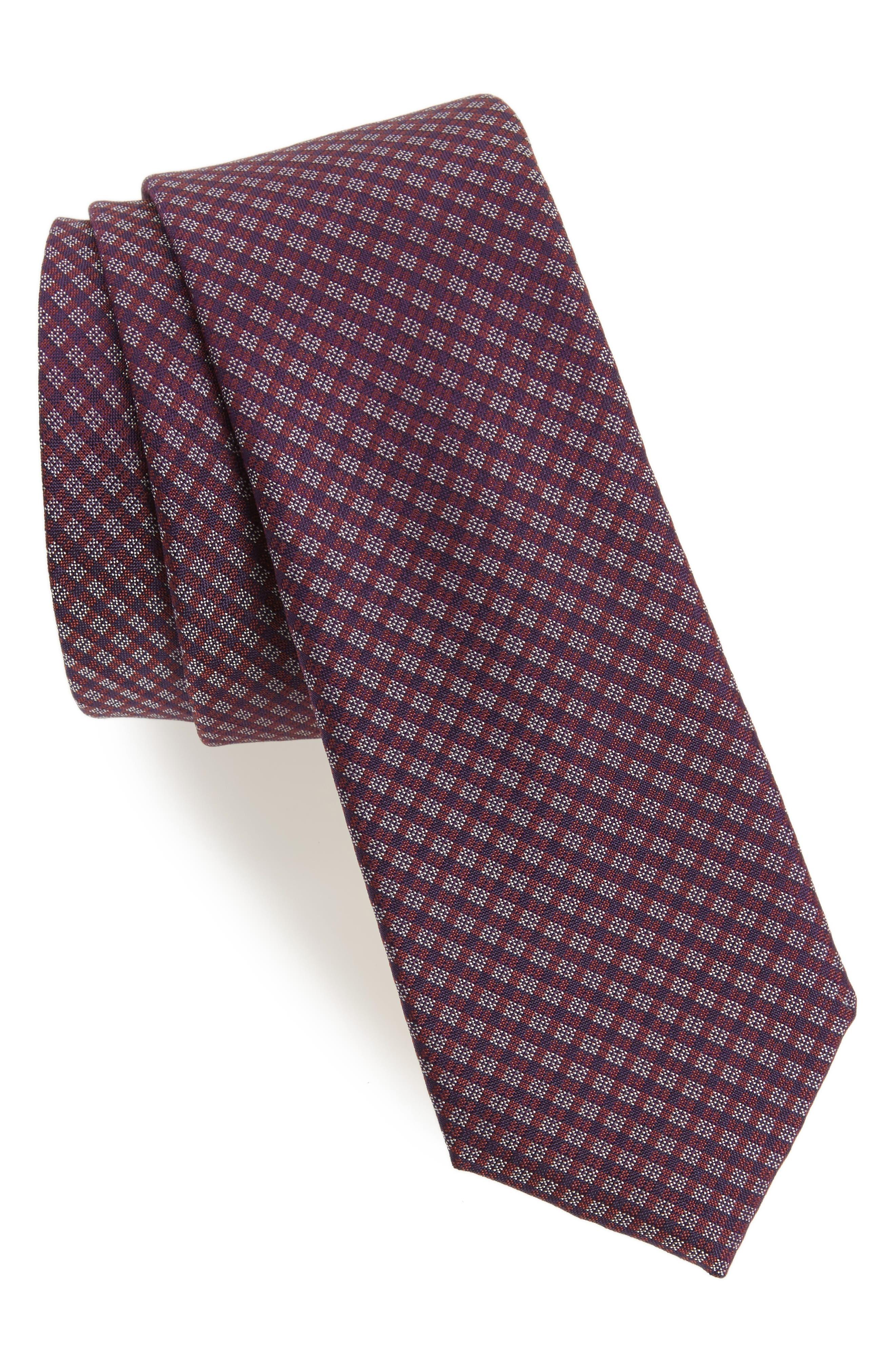 Microcheck Silk Tie,                         Main,                         color, 225