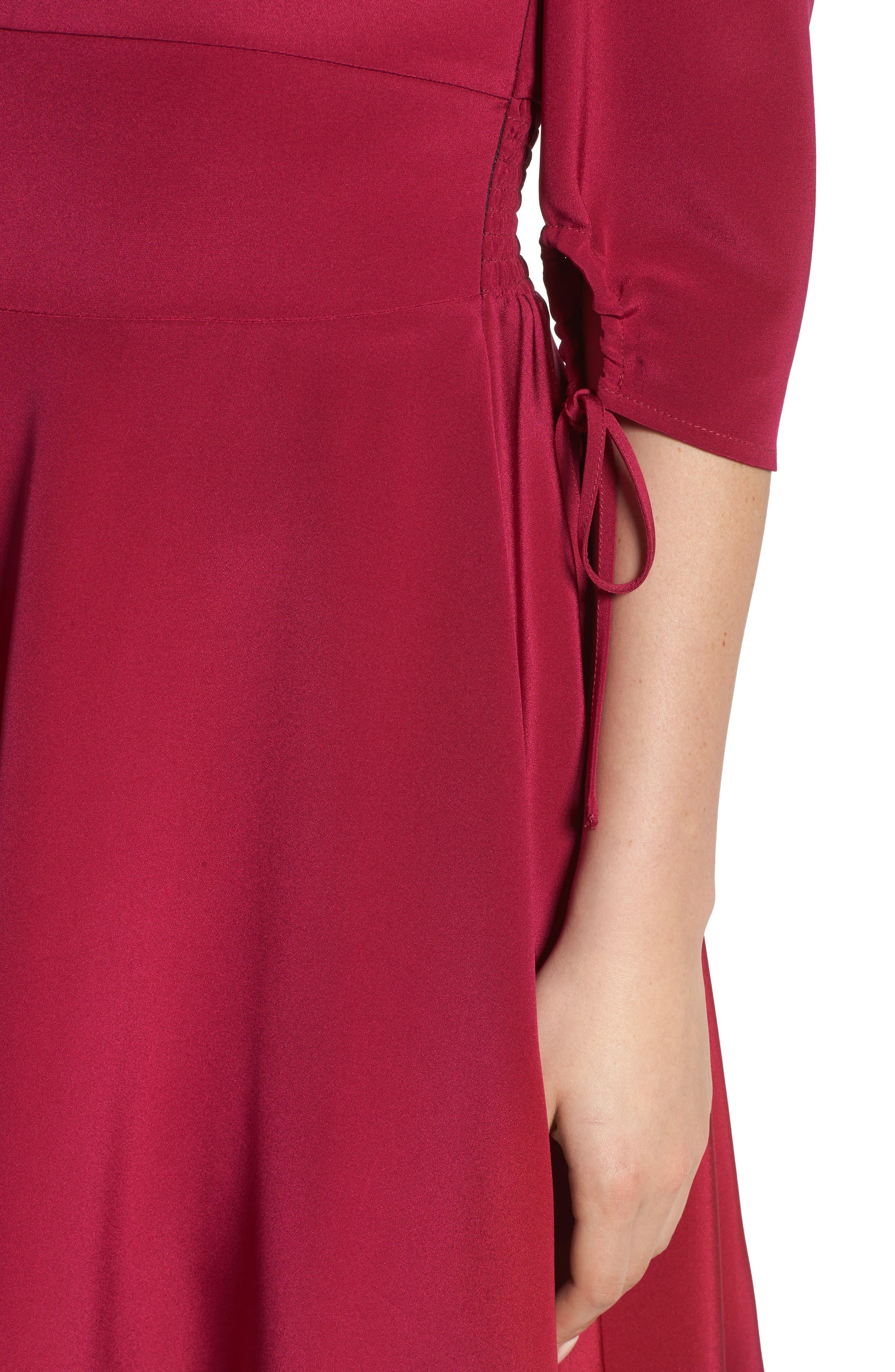 Cold Shoulder A-Line Dress,                             Alternate thumbnail 4, color,                             654