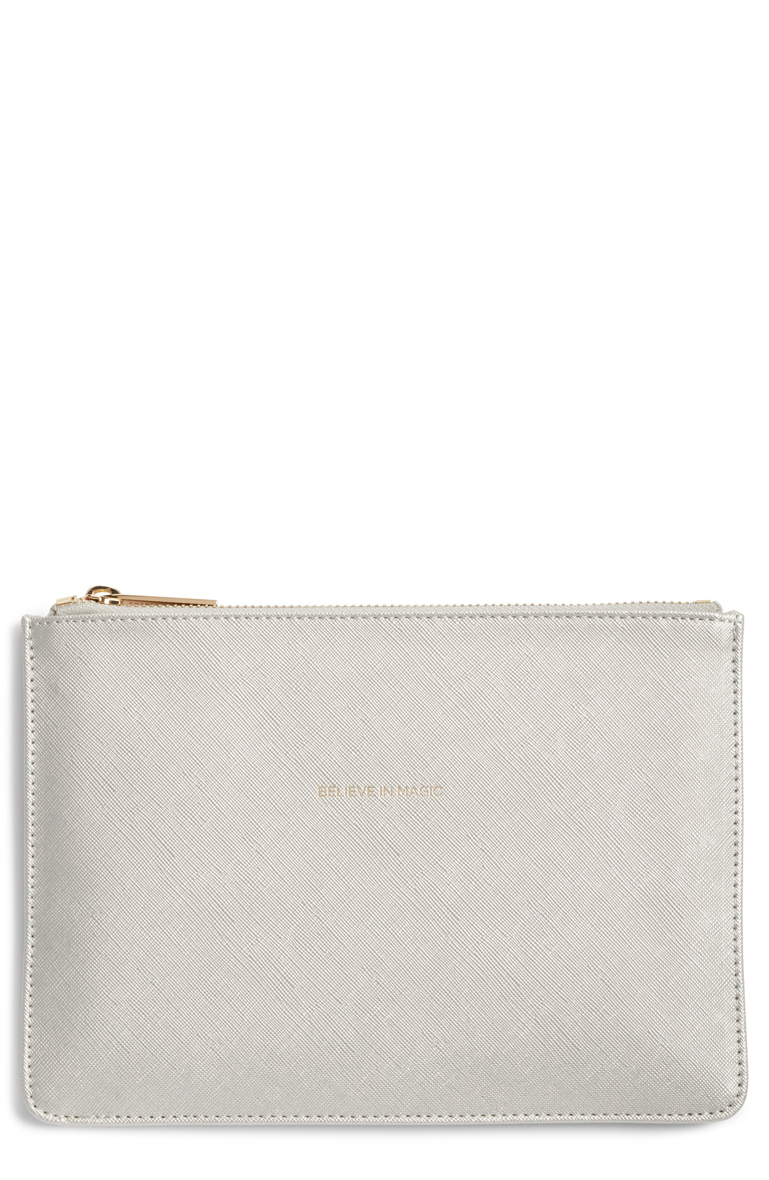 ESTELLA BARTLETT Medium Zip Pouch, Main, color, SILVER - BELIEVE