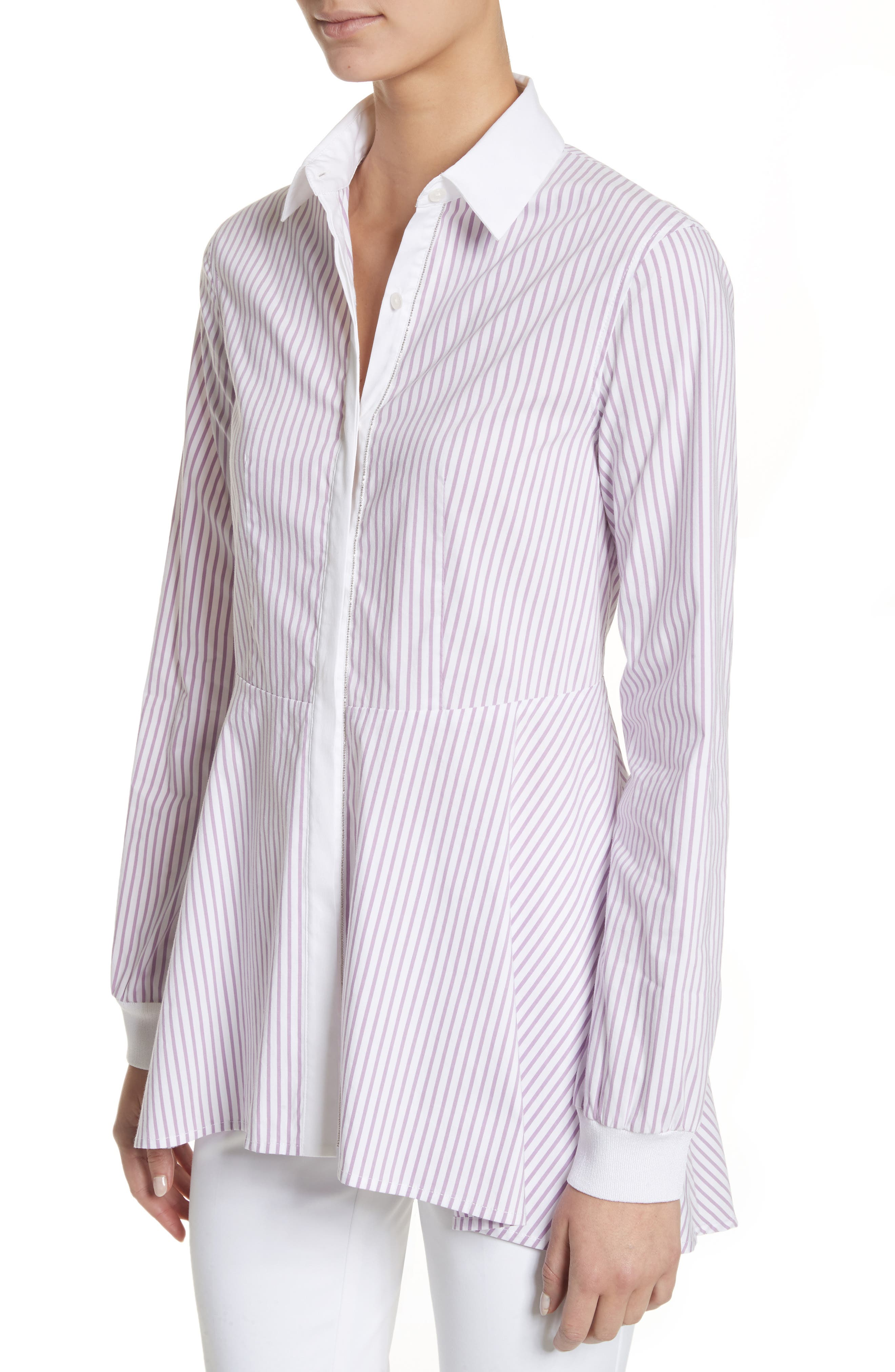 Pinstripe Cotton Blend Top,                             Alternate thumbnail 4, color,                             680