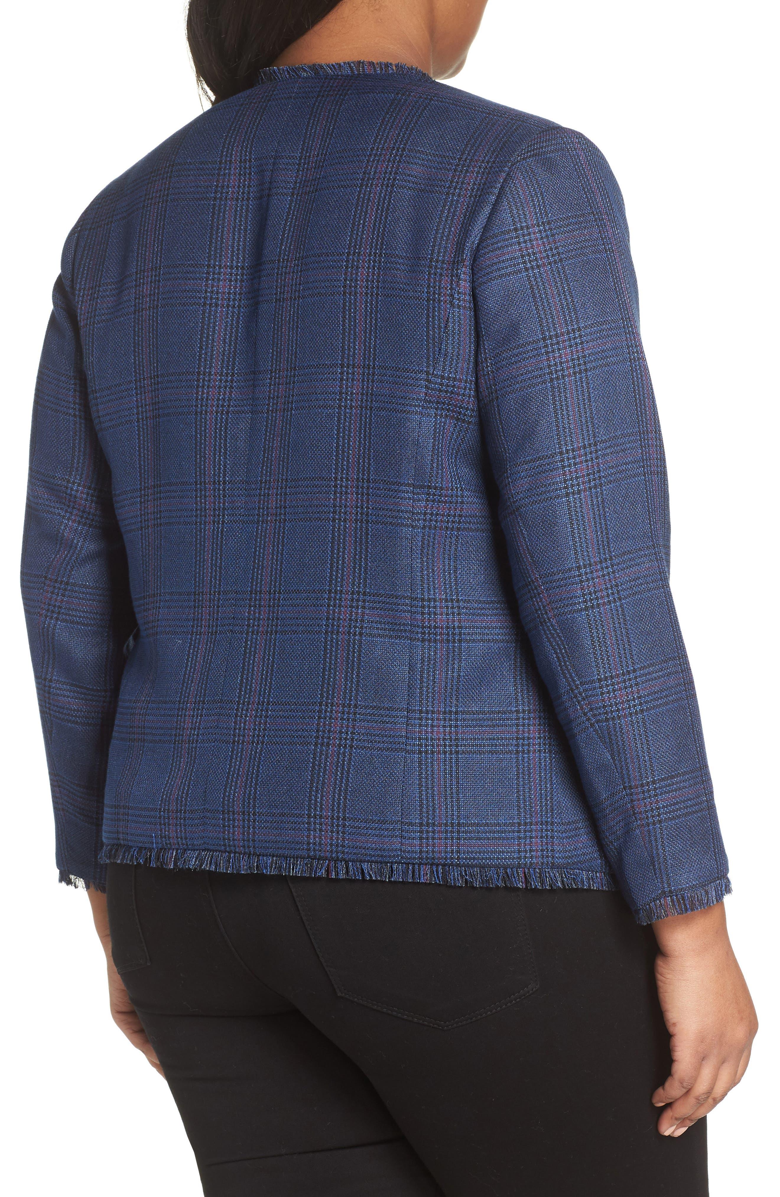 SEJOUR,                             Plaid Tweed Jacket,                             Alternate thumbnail 2, color,                             BLUE SAM PLAID