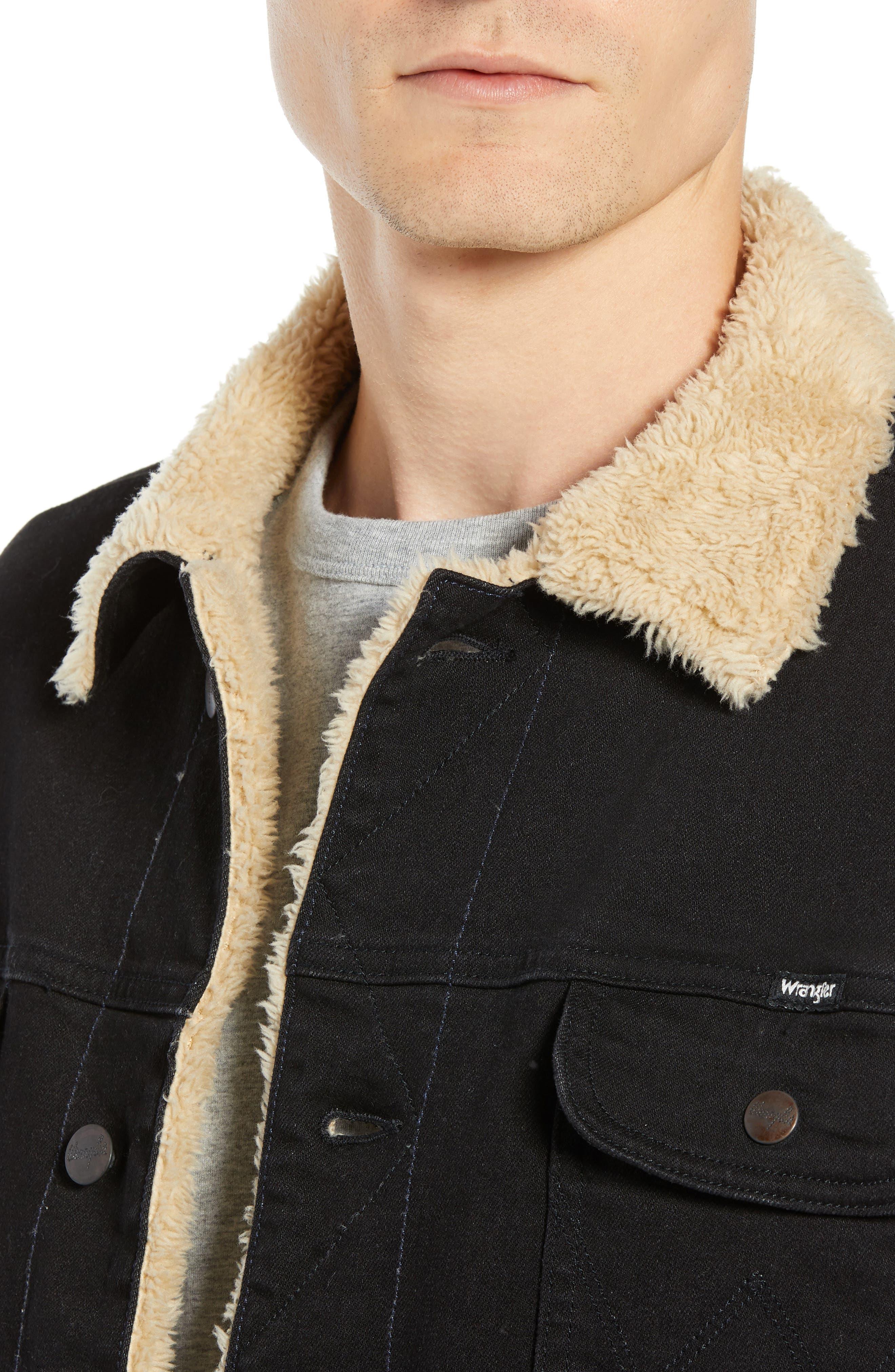 Heritage Fleece Lined Denim Jacket,                             Alternate thumbnail 4, color,                             BLACK