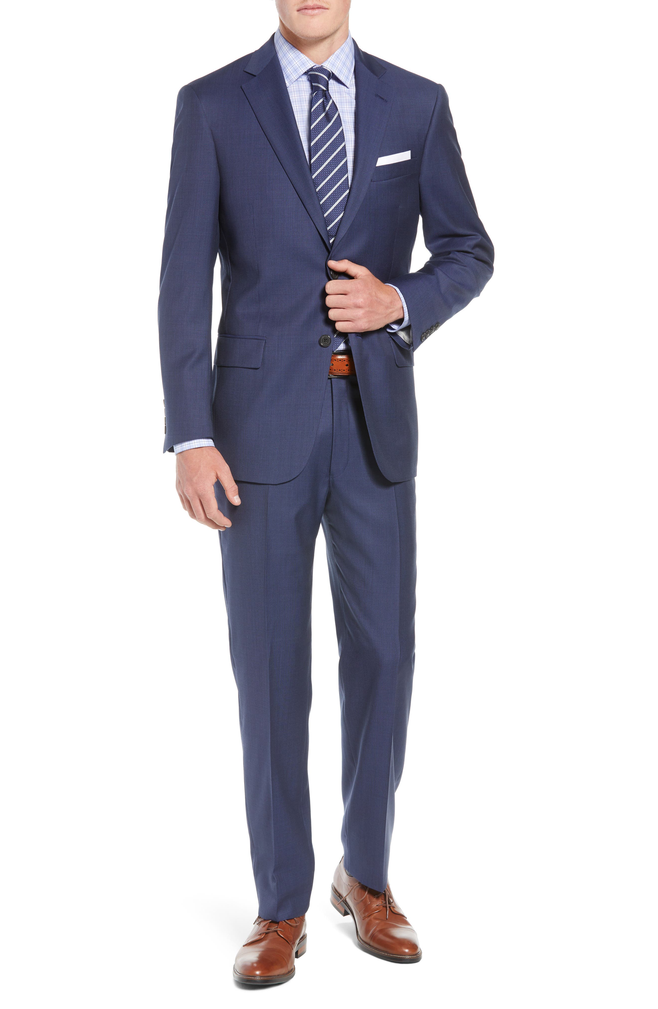 New York Classic Fit Check Wool Suit,                             Main thumbnail 1, color,                             MED BLUE