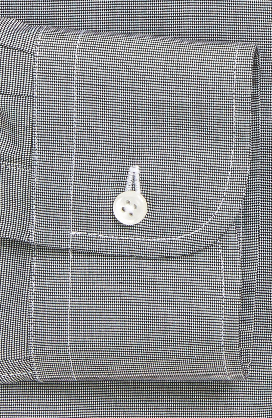 Trim Fit Non-Iron Dress Shirt,                             Alternate thumbnail 6, color,                             BLACK ROCK