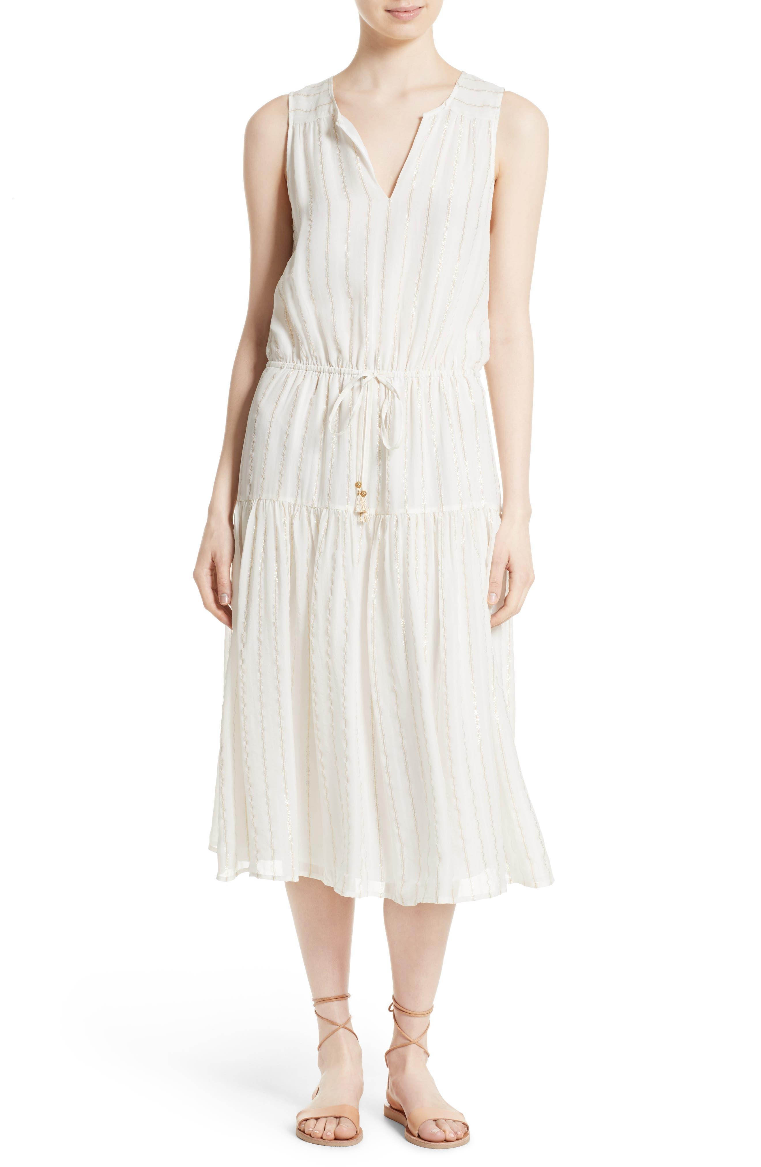 Klea Metallic Stripe Silk Midi Dress,                             Main thumbnail 1, color,                             114