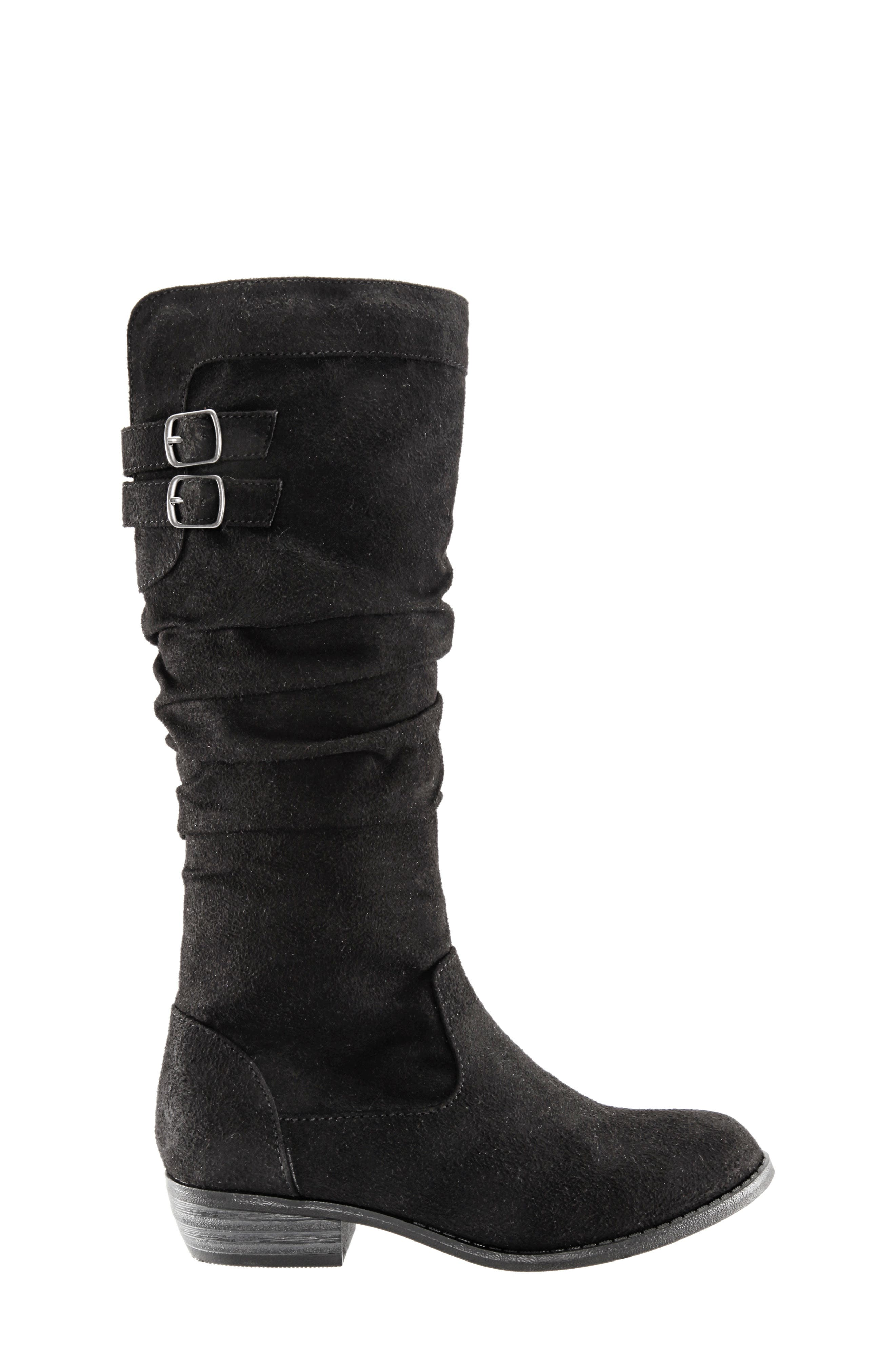 Gilda Tall Slouchy Boot,                             Alternate thumbnail 3, color,                             BLACK BURNISHED MICRO SUEDE
