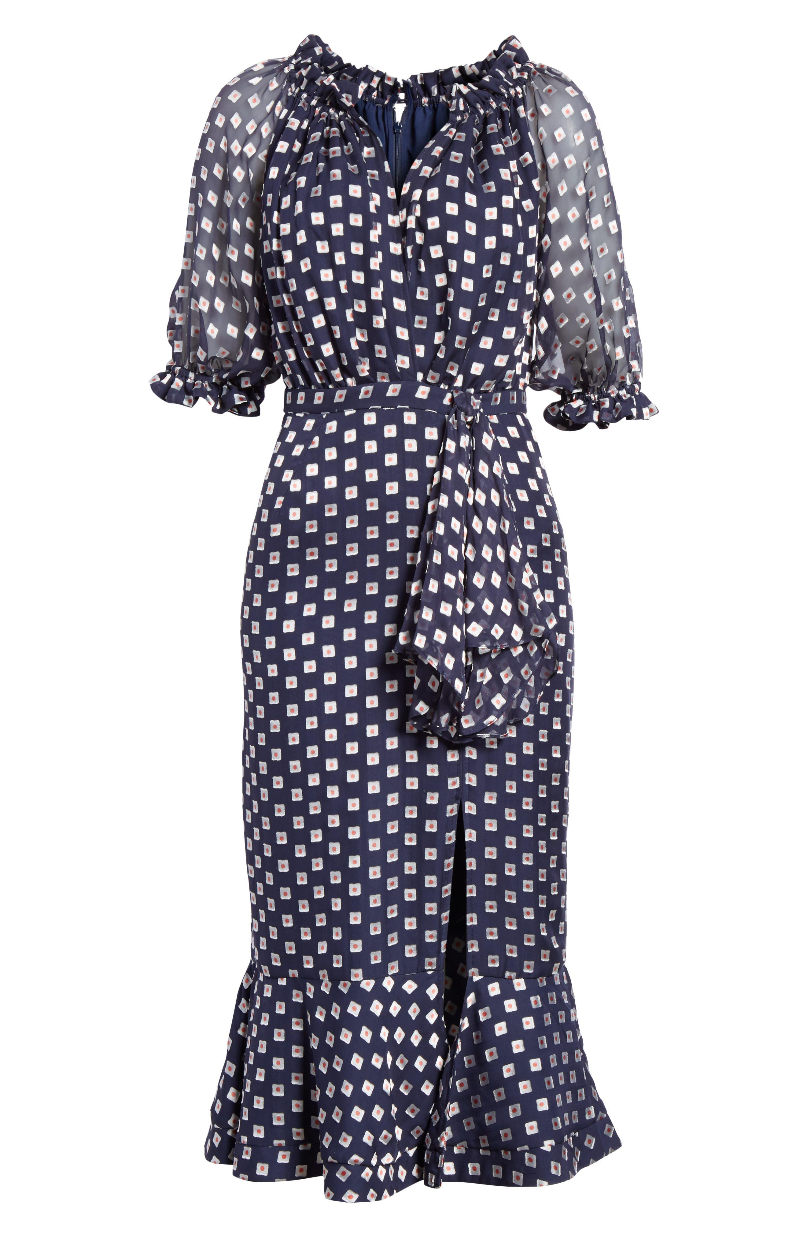 Olivia Silk Blend Midi Dress,                             Alternate thumbnail 6, color,                             410