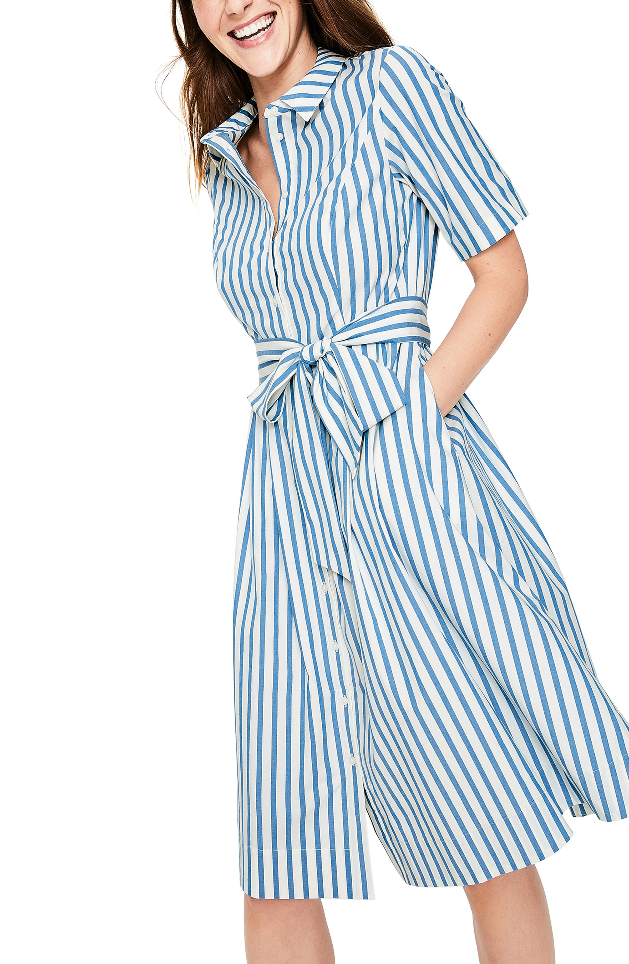 Anastasia Tie Front Shirtdress,                             Main thumbnail 1, color,                             IVORY AND CYAN STRIPE
