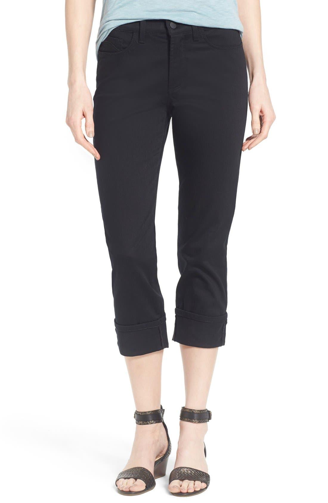 'Dayla' Colored Wide Cuff Capri Jeans,                             Main thumbnail 1, color,                             001