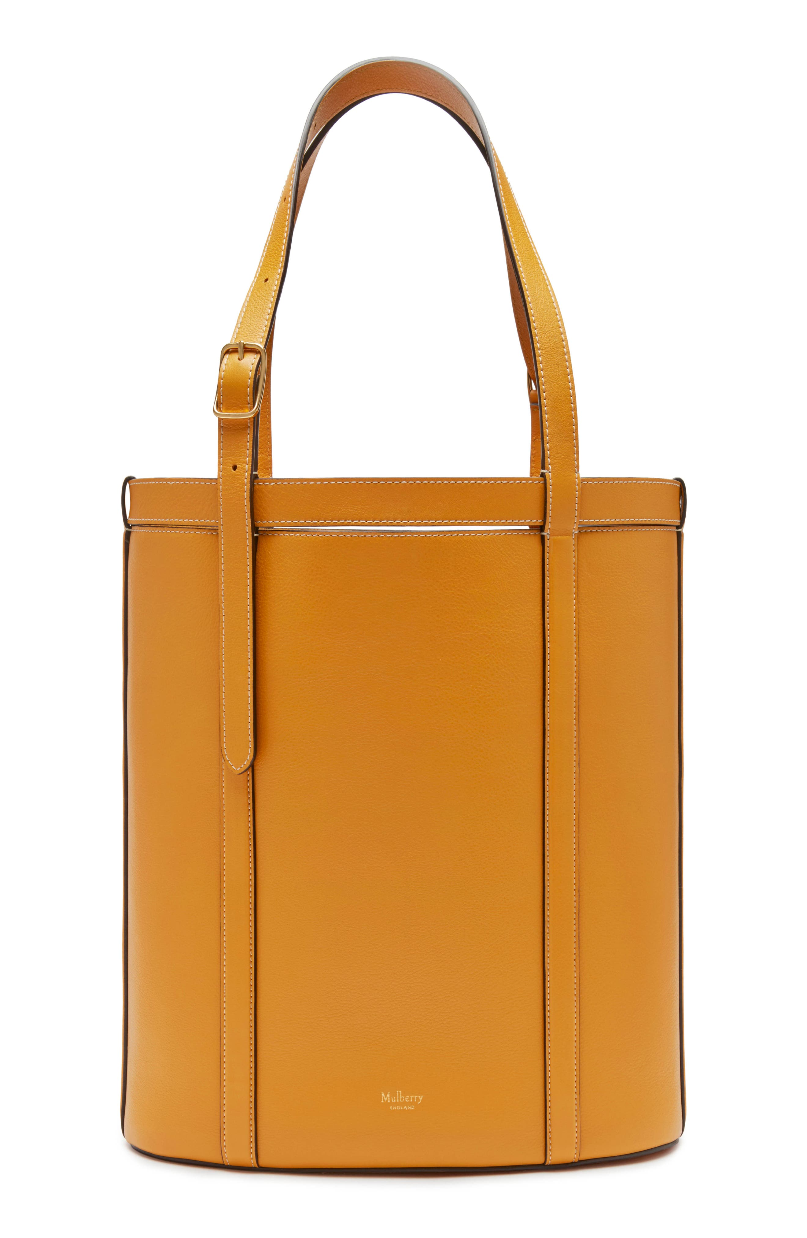 MULBERRY Small Wilton Leather Bucket Bag in Deep Amber
