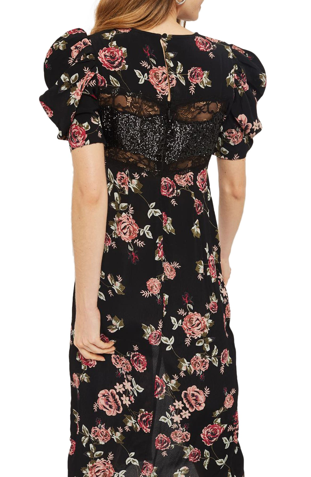 Sequined Floral Puff Sleeve Midi Dress,                             Alternate thumbnail 2, color,                             001