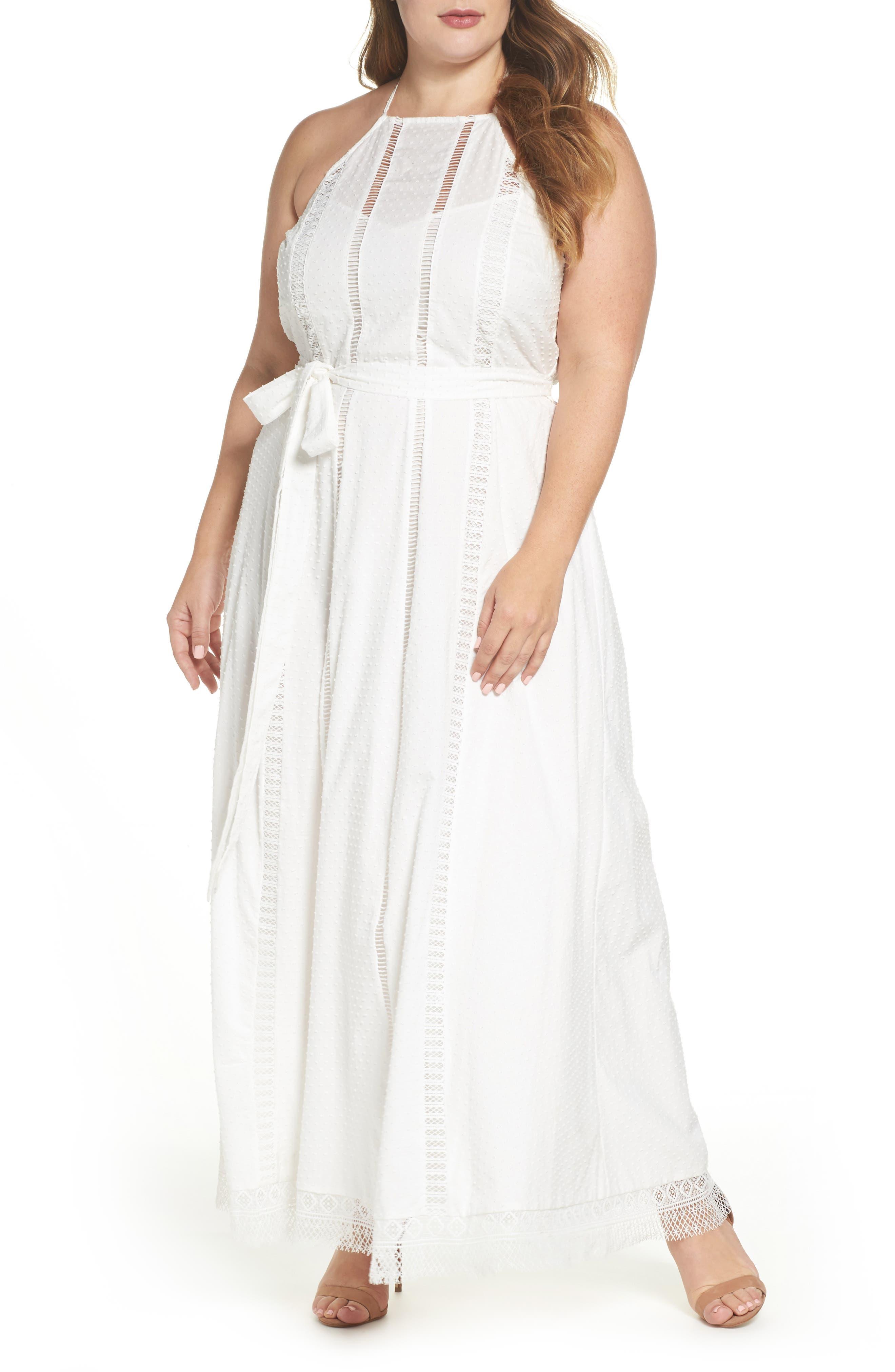 Lace Trim Swiss Dot Halter Maxi Dress,                             Alternate thumbnail 5, color,                             IVORY