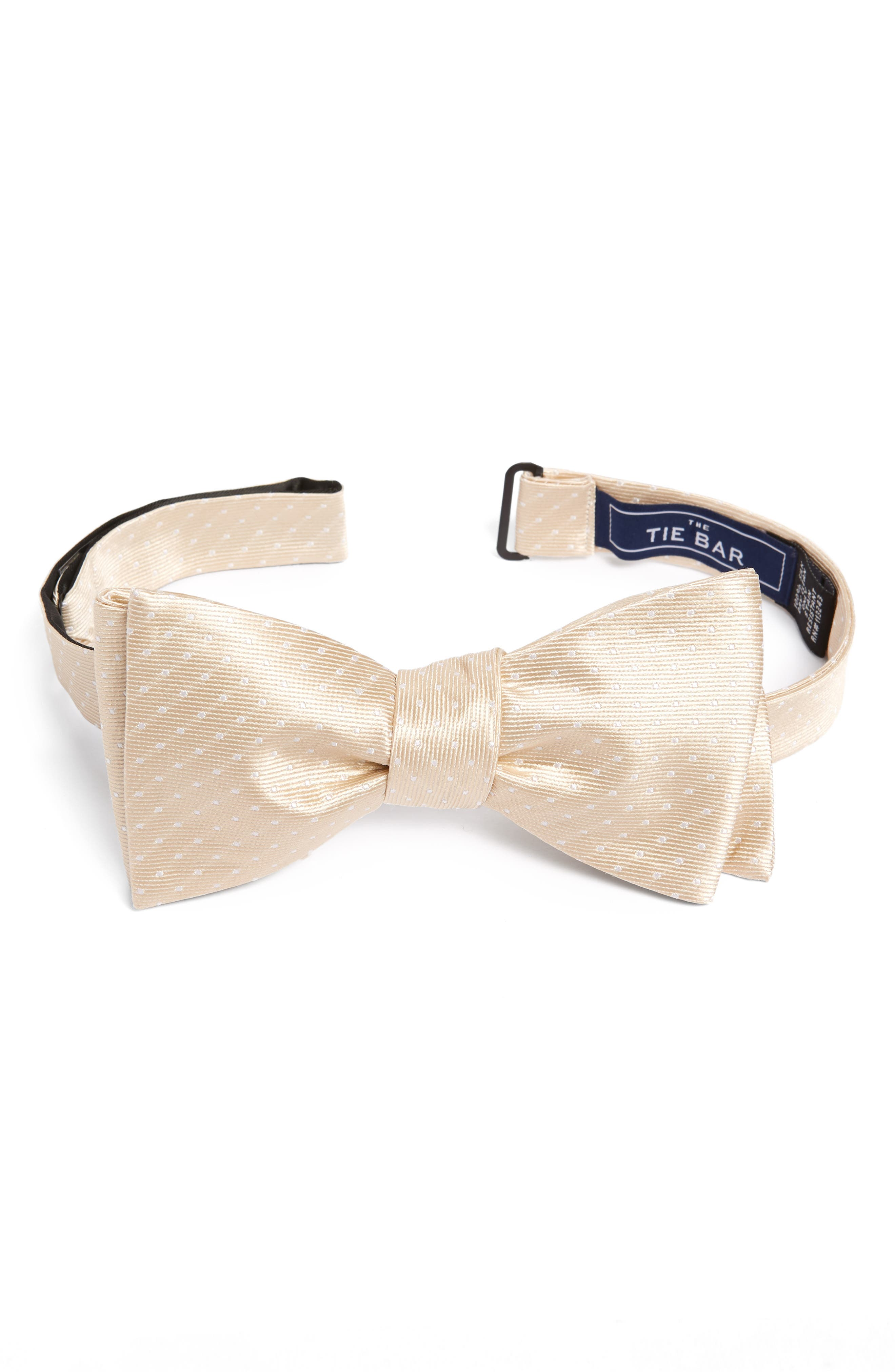 Pin Dot Silk Bow Tie,                             Main thumbnail 4, color,