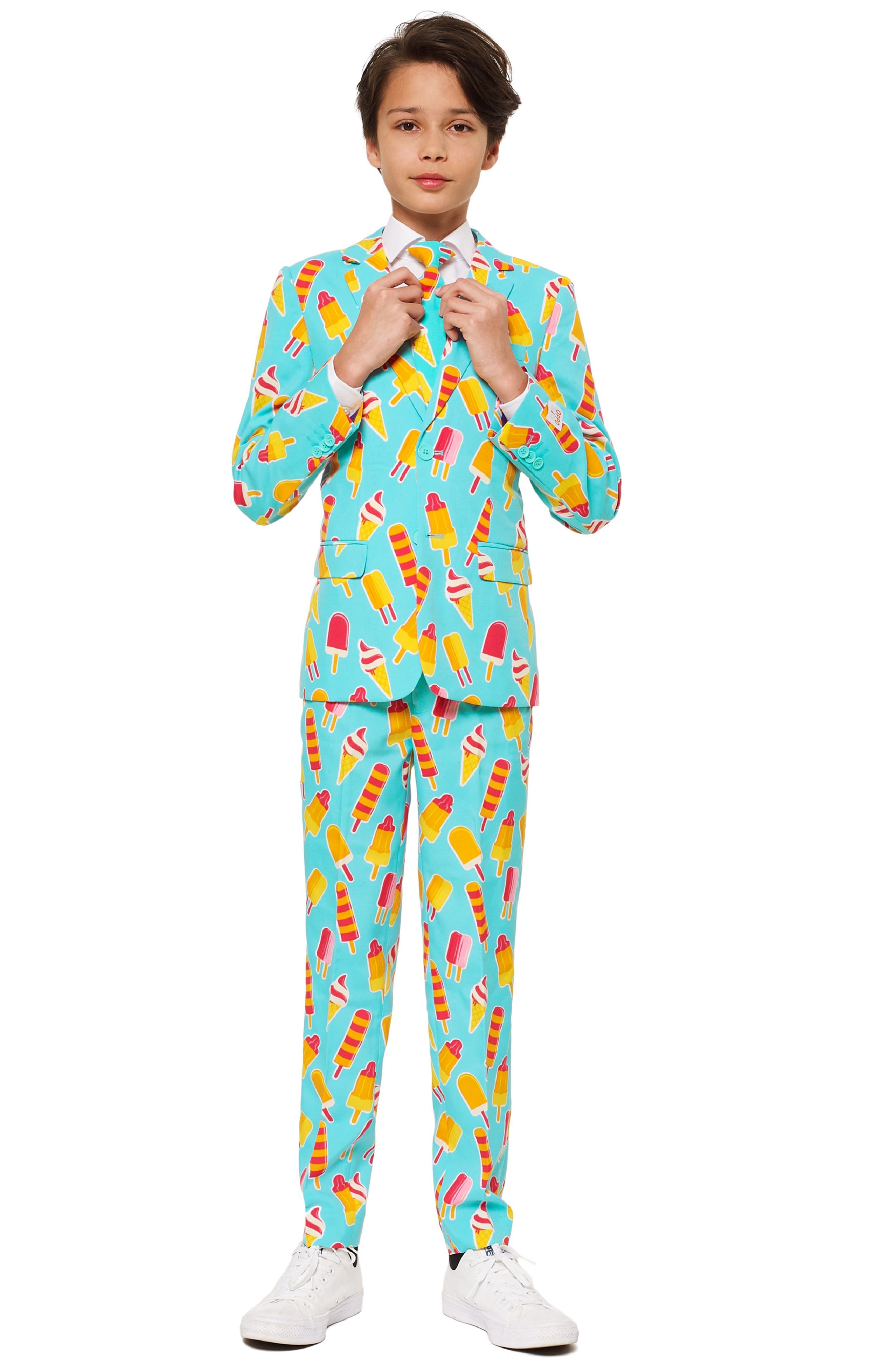 Cool Cones Two-Piece Suit with Tie,                         Main,                         color, BLUE/ GREEN
