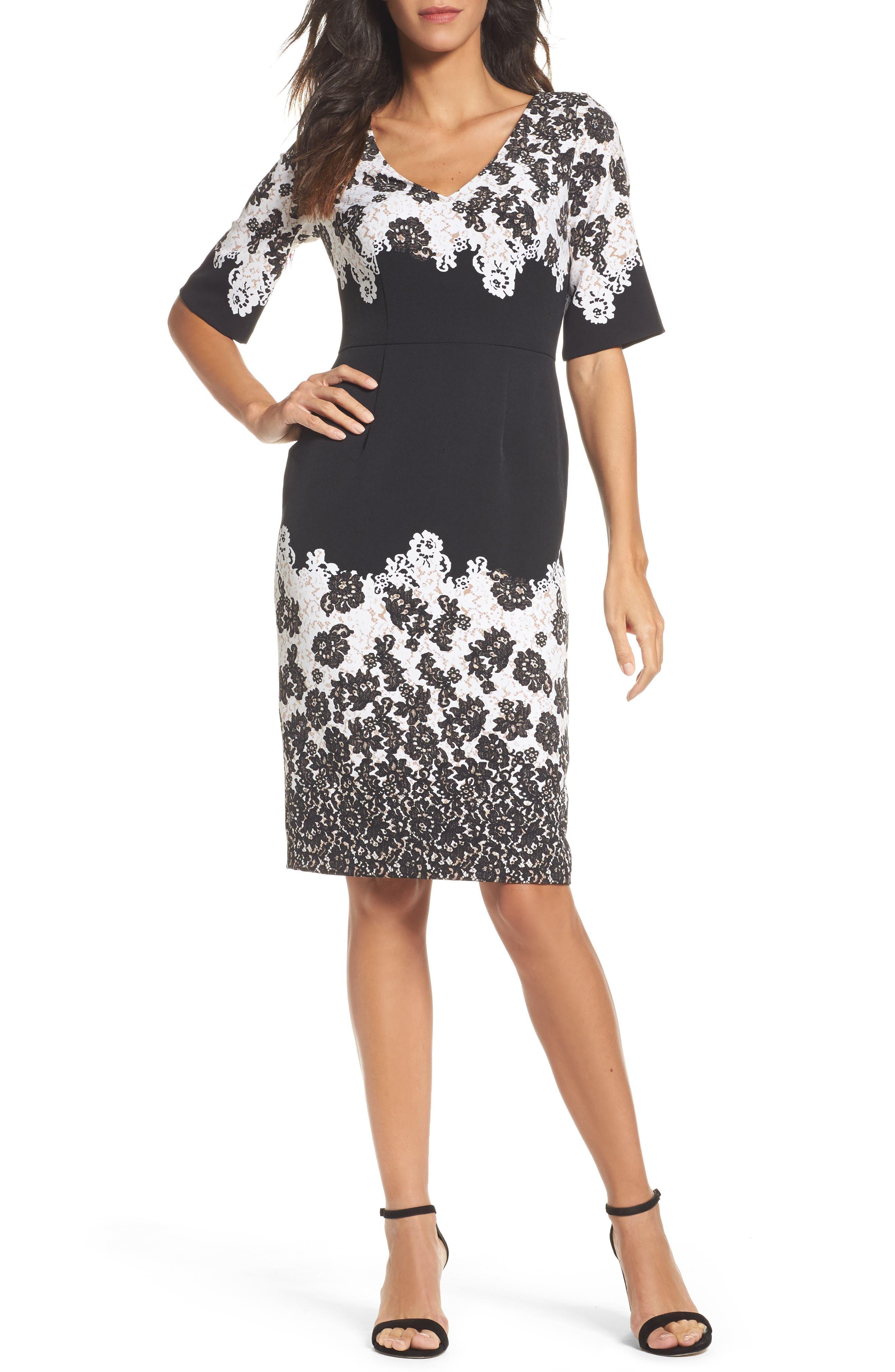 Print Sheath Dress,                             Main thumbnail 1, color,                             009