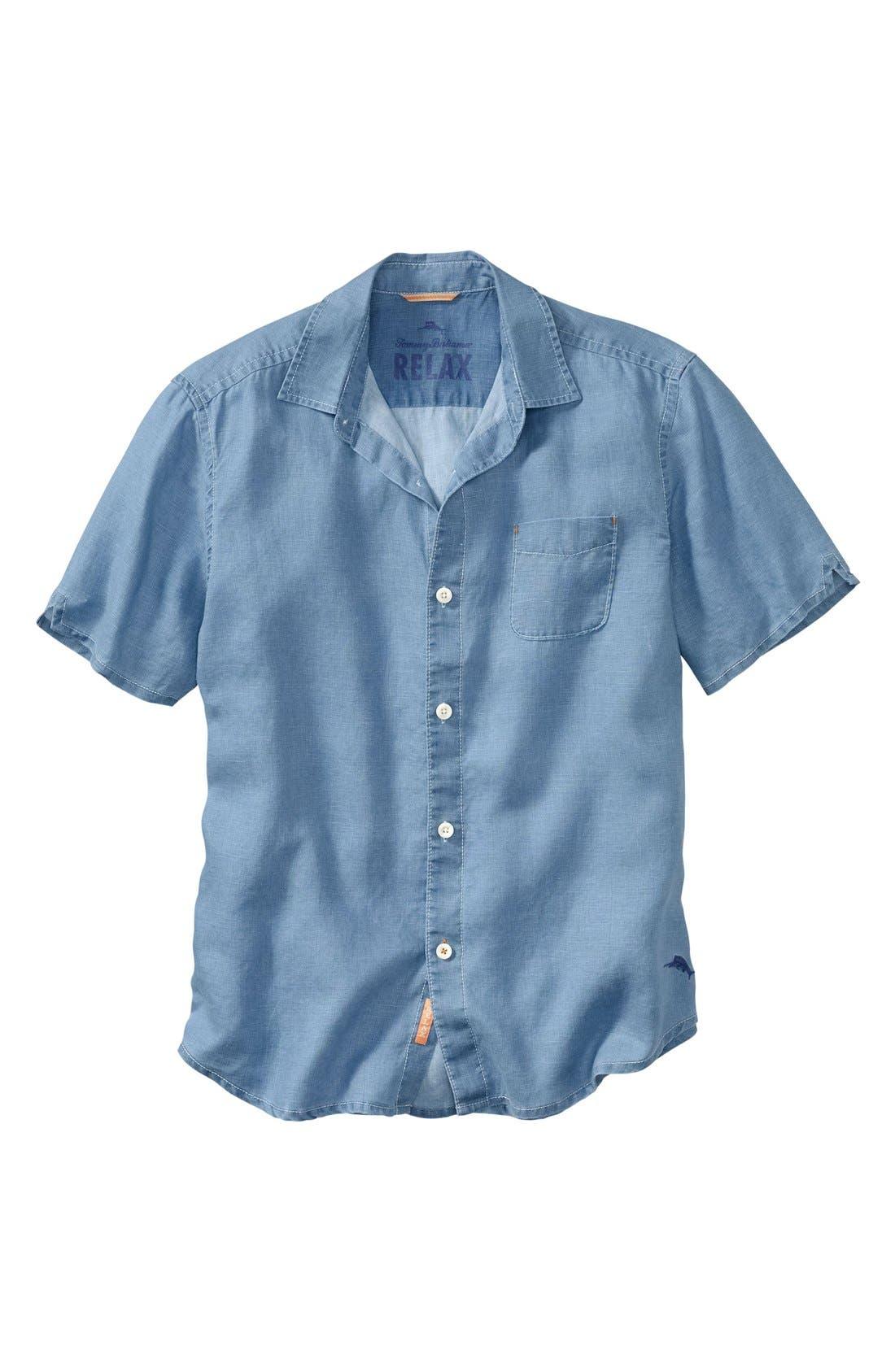Seaglass Breezer Short Sleeve Linen Sport Shirt,                             Main thumbnail 10, color,