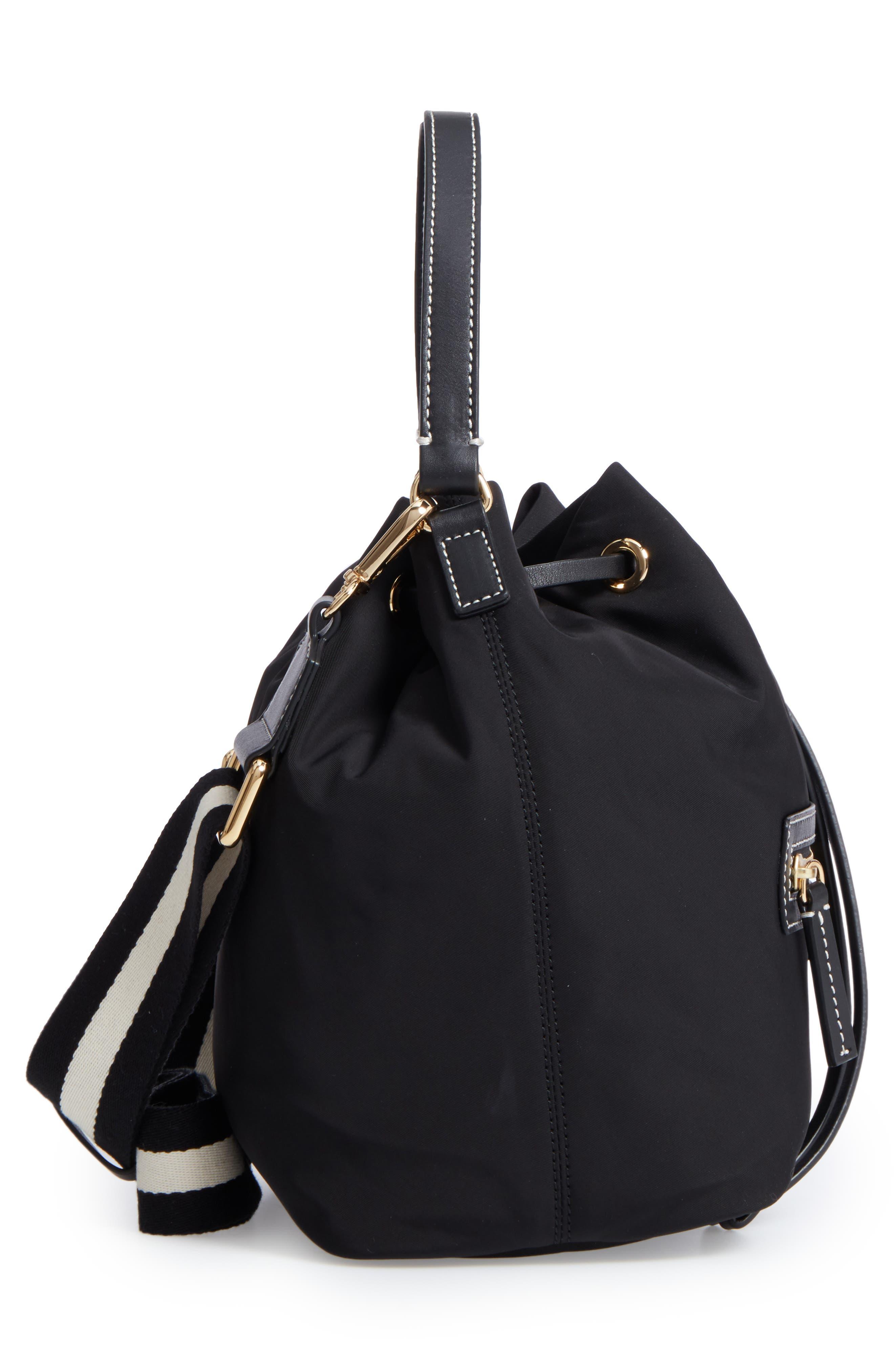 Medium Ann Nylon Bucket Bag,                             Alternate thumbnail 5, color,                             001