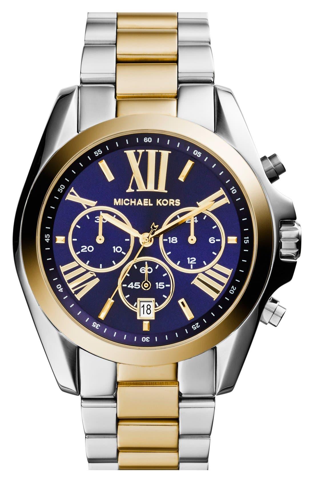 Bradshaw Chronograph Bracelet Watch, 43mm,                         Main,                         color, SILVER/ BLUE