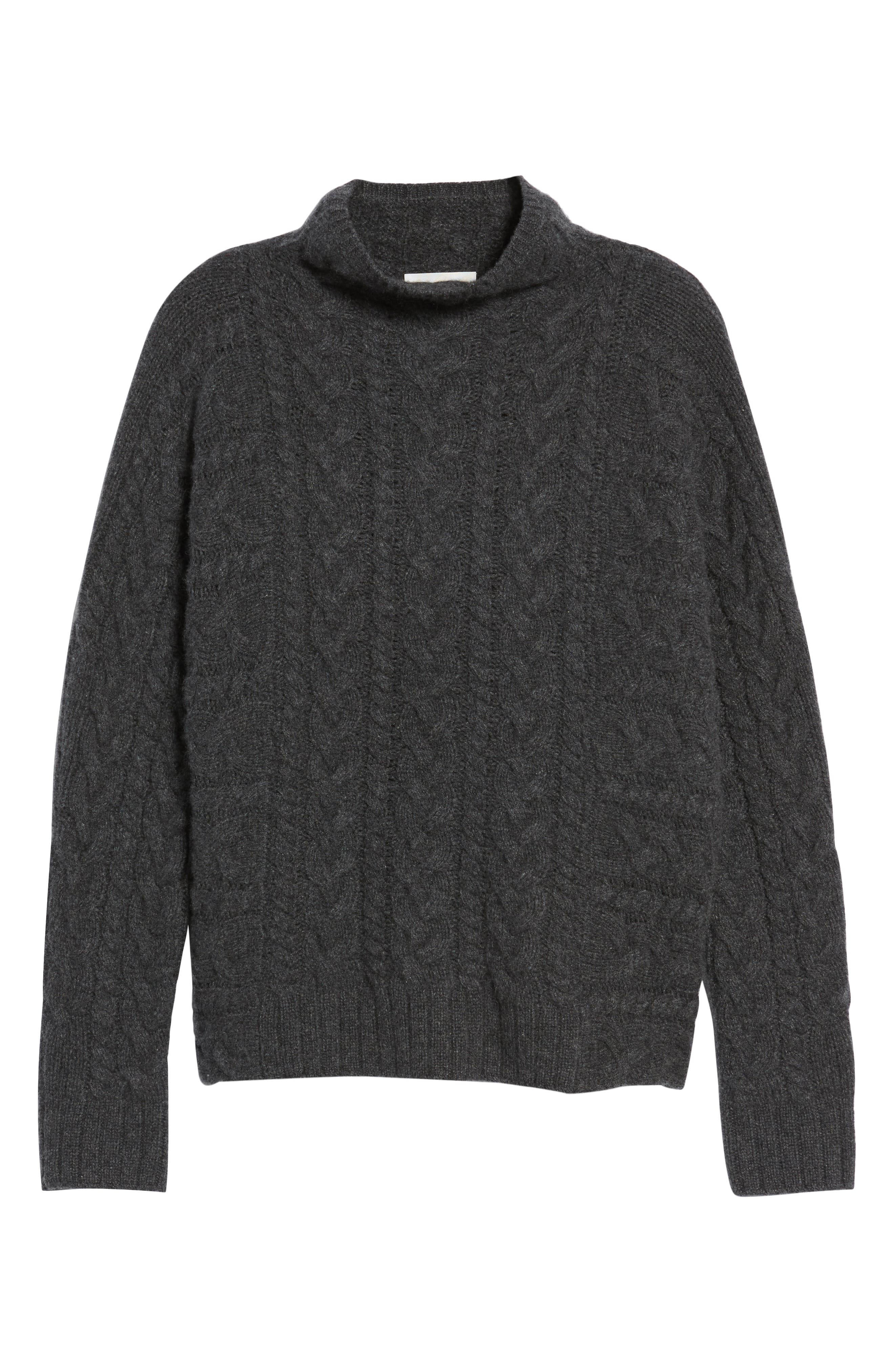 Cashmere Cable Sweater,                             Alternate thumbnail 6, color,                             021