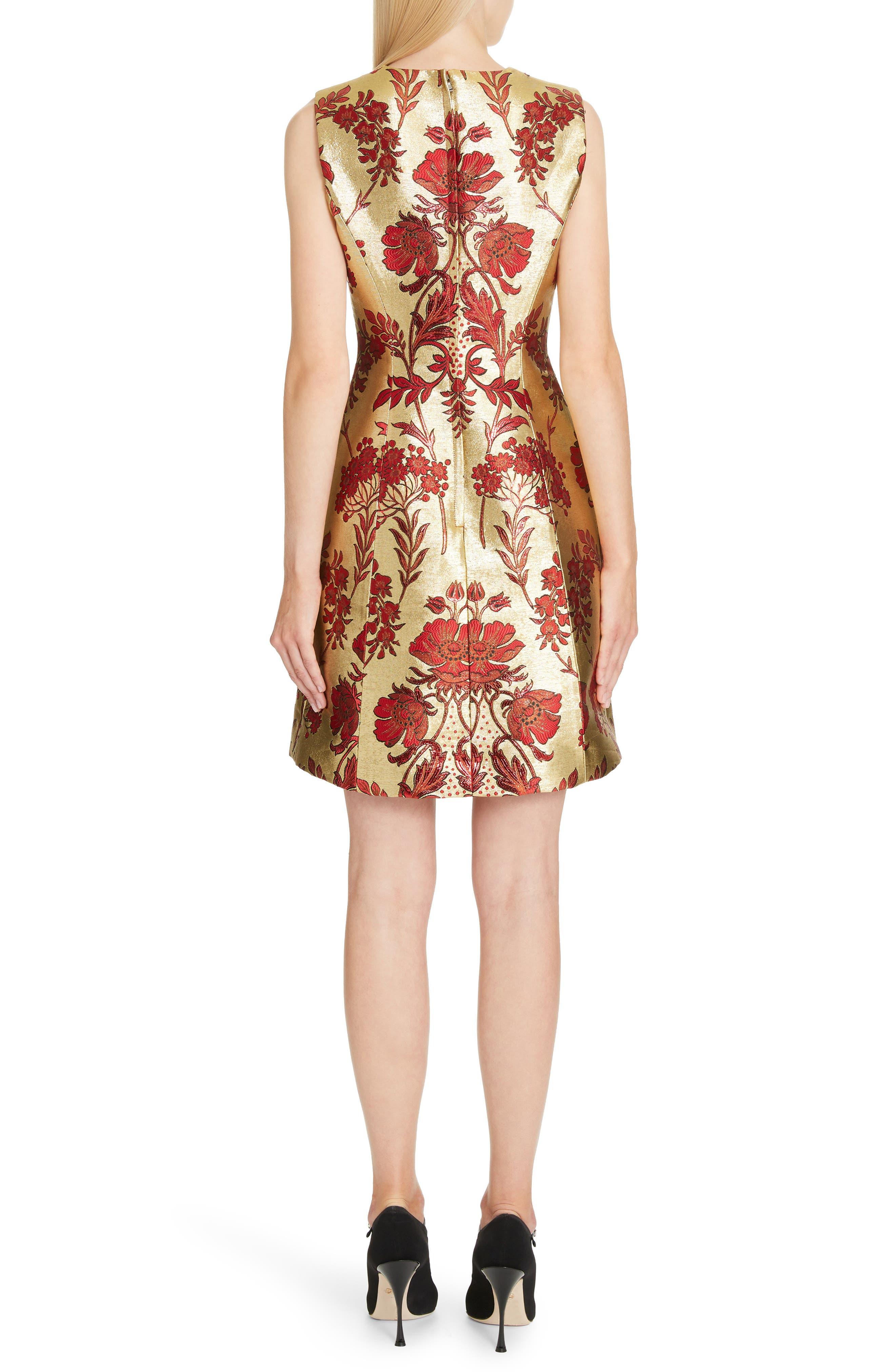 Metallic Jacquard A-Line Dress,                             Alternate thumbnail 2, color,                             S8351 JACQUARD LUREX FLORAL