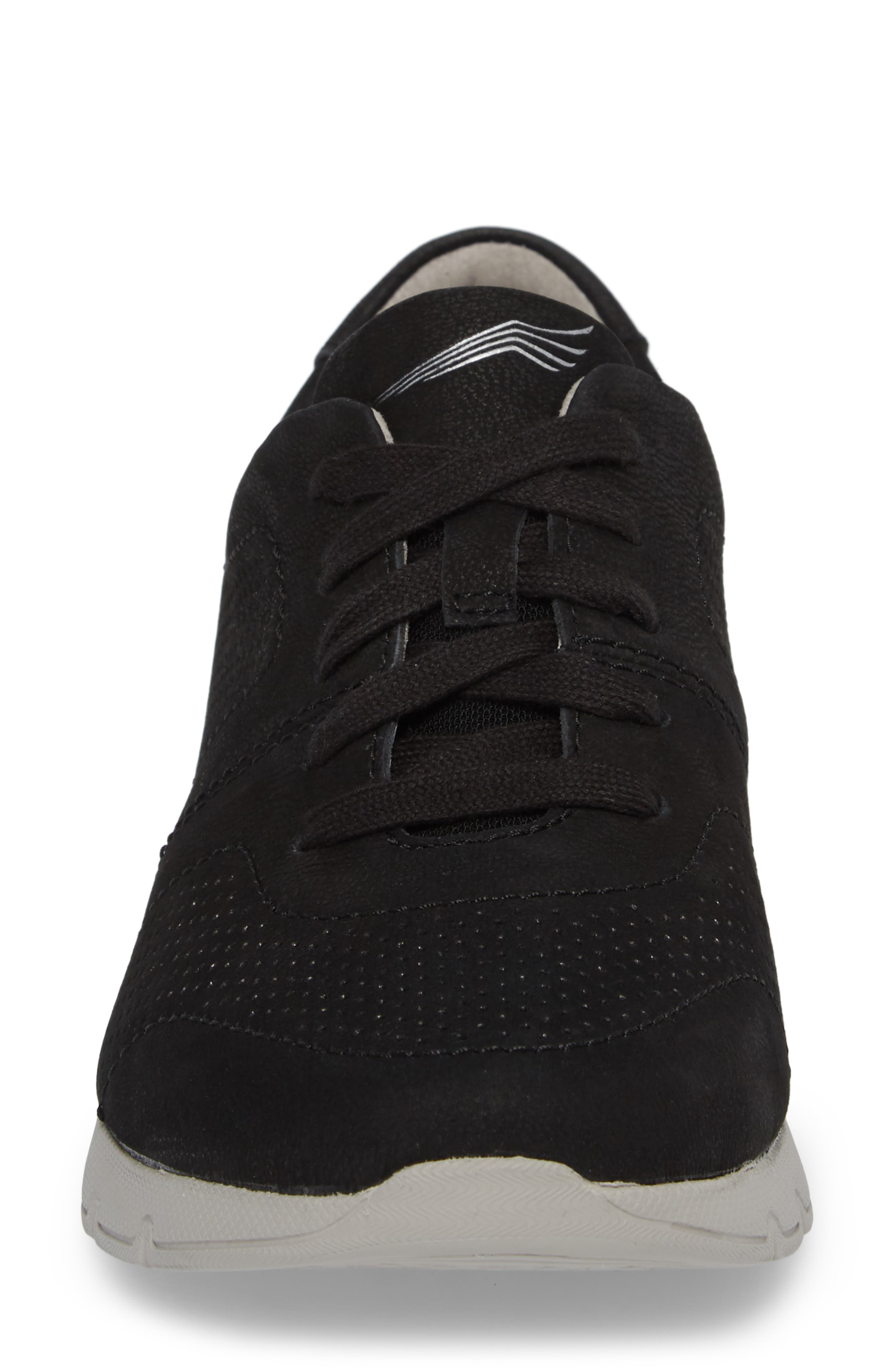 Alissa Sneaker,                             Alternate thumbnail 4, color,                             BLACK MILLED NUBUCK LEATHER