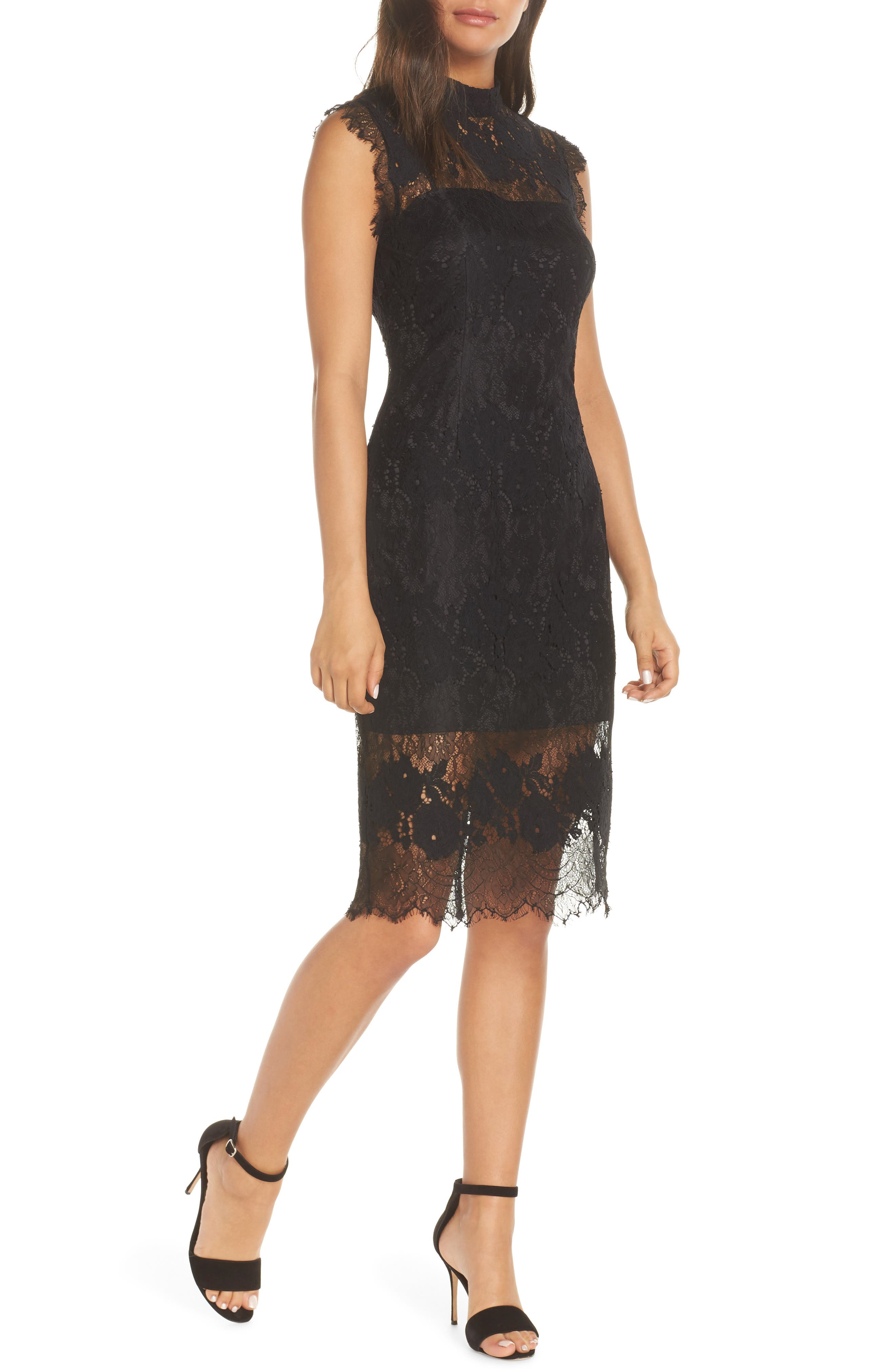 ADELYN RAE Naila Mock Neck Lace Dress in Black