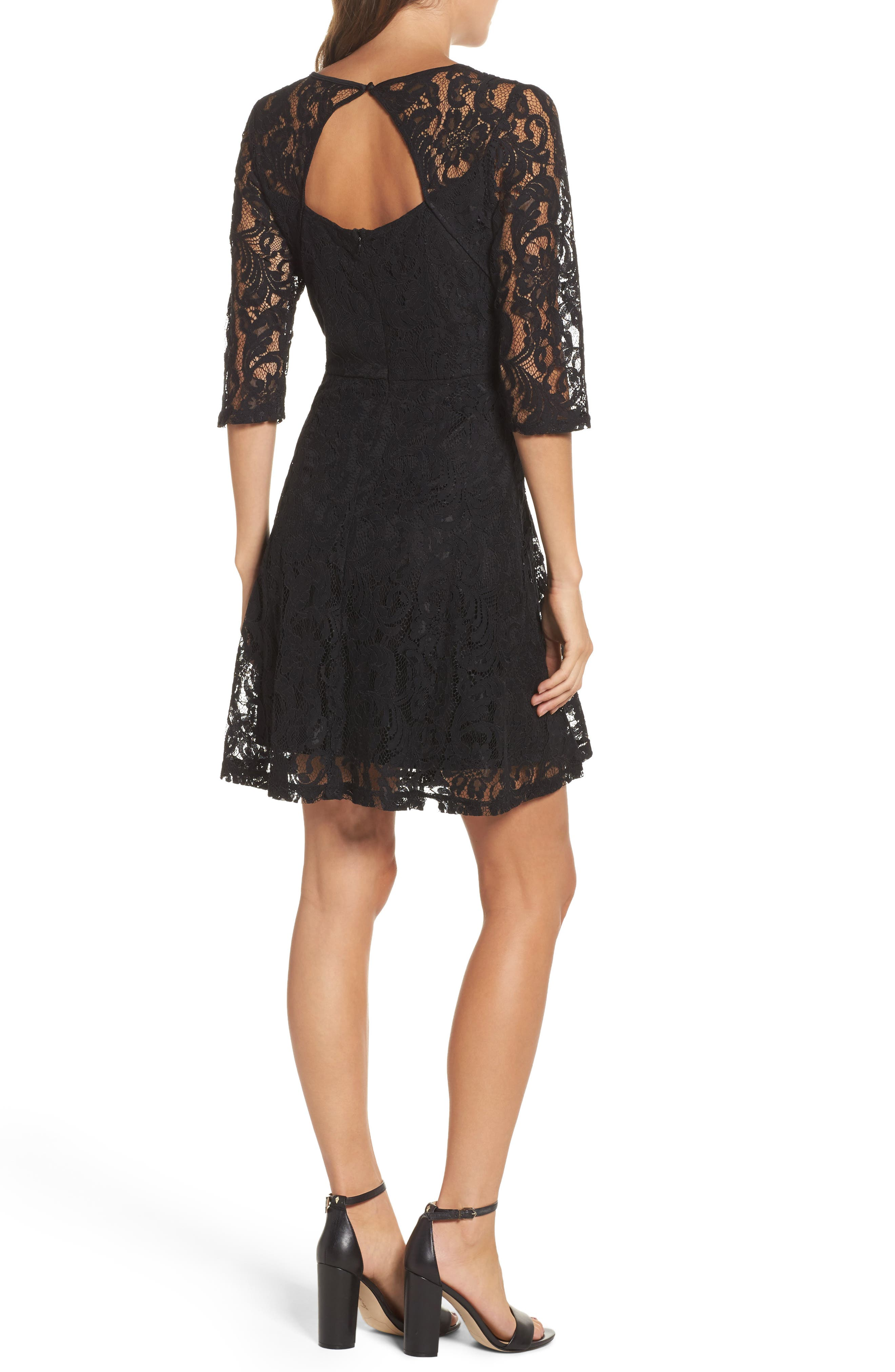 Lace Fit & Flare Dress,                             Alternate thumbnail 2, color,                             001