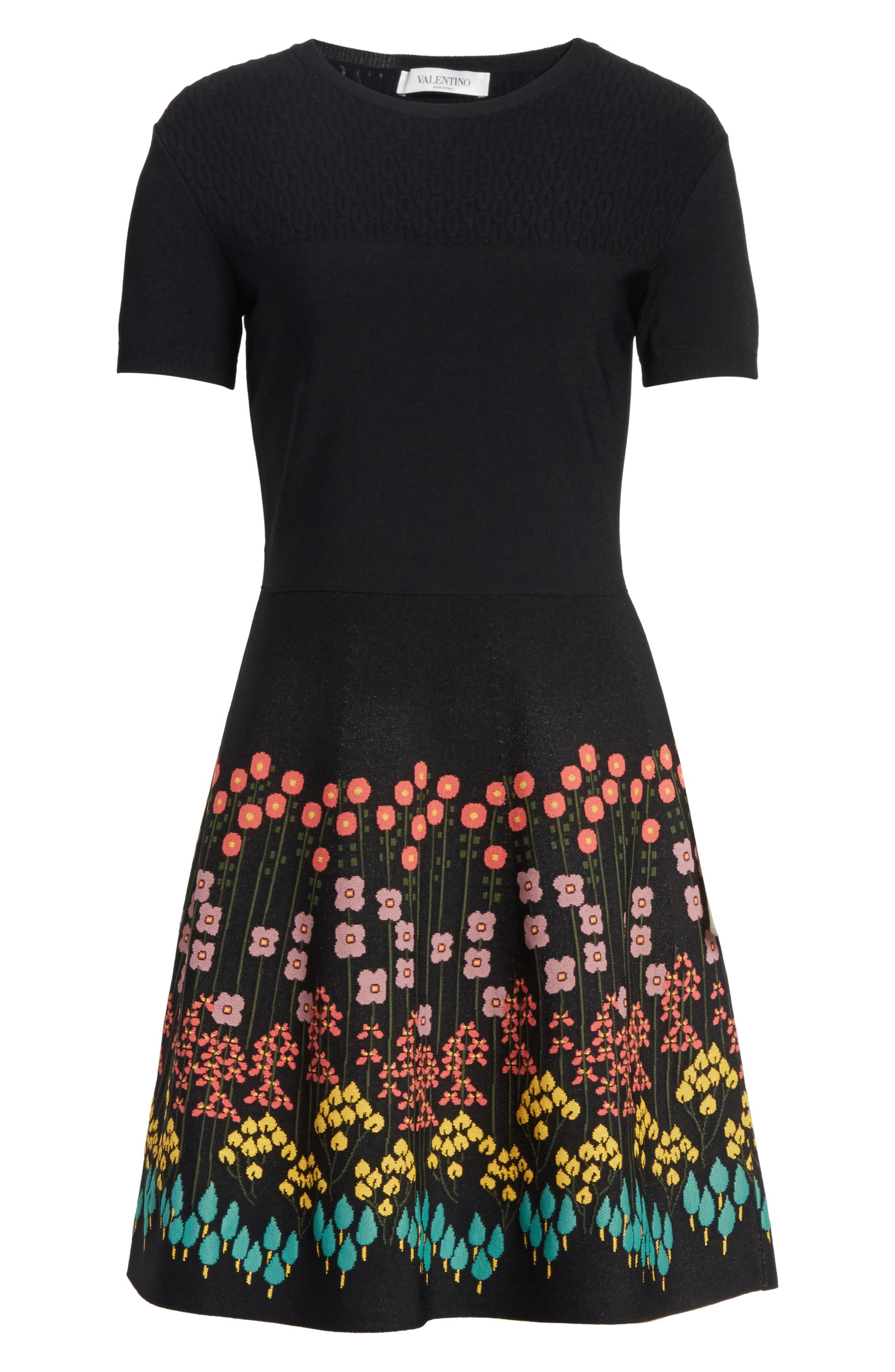 Floral Jacquard Knit Dress,                             Alternate thumbnail 6, color,                             001