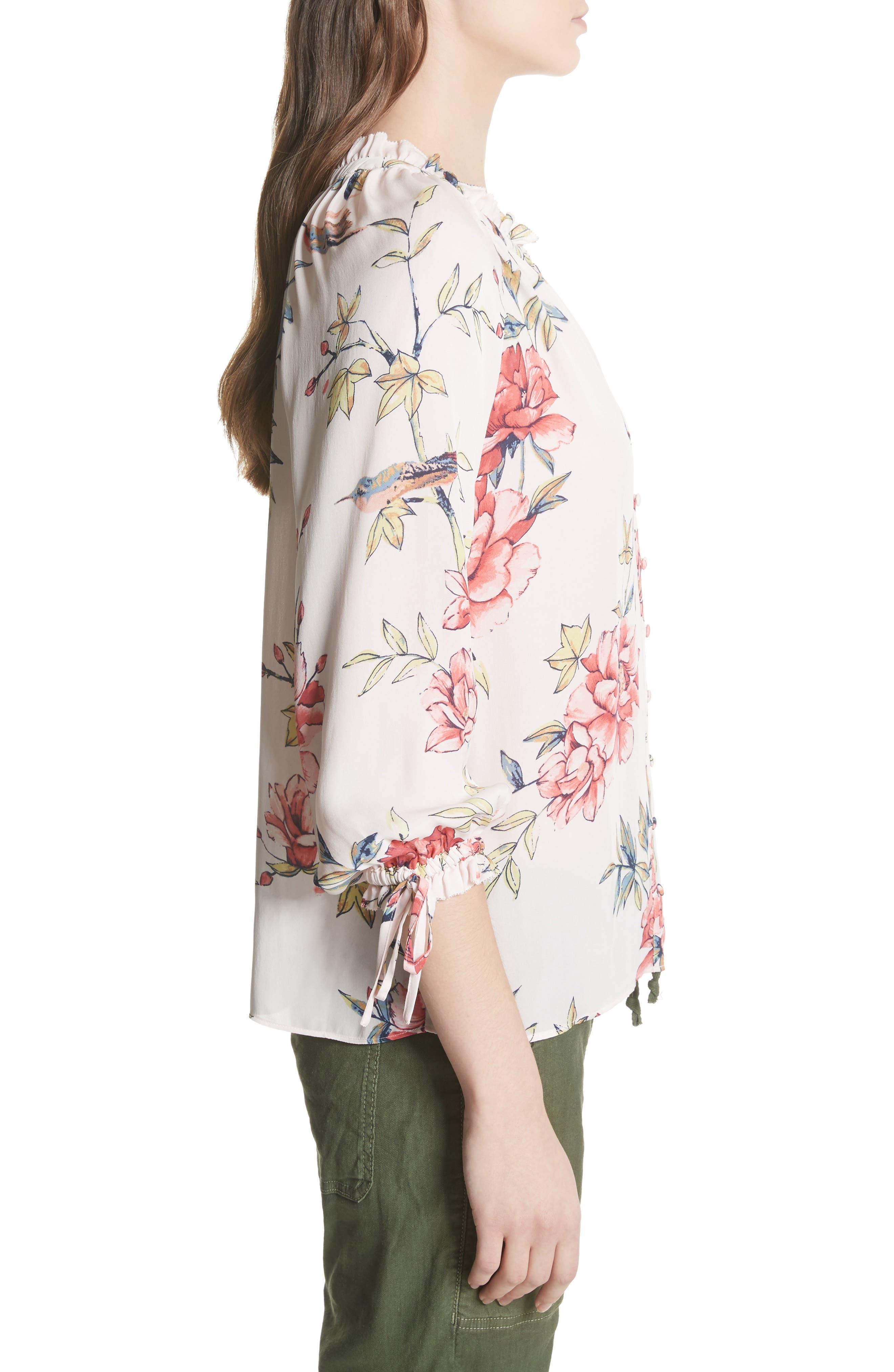 Corsen Floral Silk Blouse,                             Alternate thumbnail 6, color,
