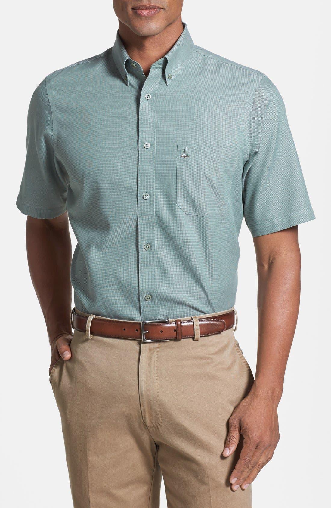 'Classic' Smartcare<sup>™</sup> Regular Fit Short Sleeve Cotton Sport Shirt,                             Main thumbnail 9, color,