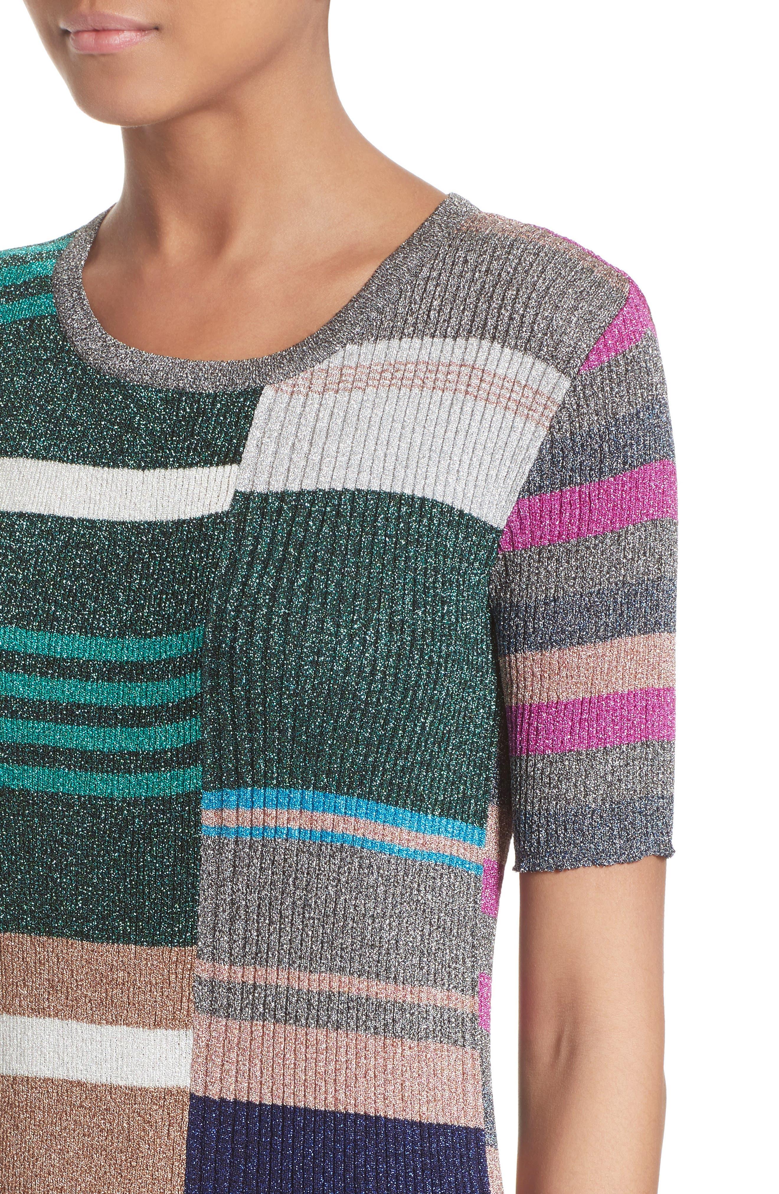 Metallic Stripe Rib Knit Dress,                             Alternate thumbnail 4, color,                             001