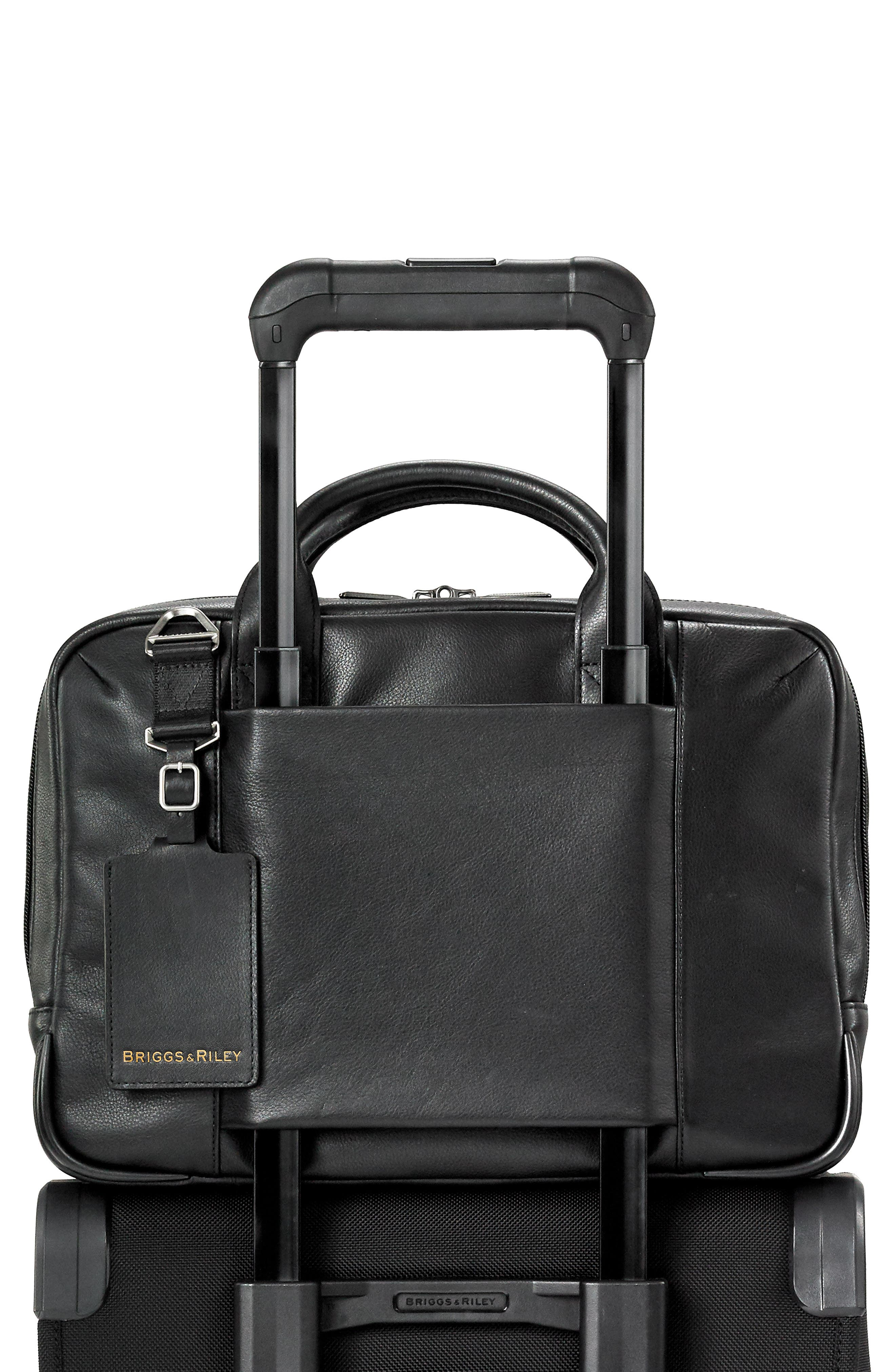 BRIGGS & RILEY,                             @work Slim Leather Laptop Briefcase,                             Alternate thumbnail 6, color,                             BLACK