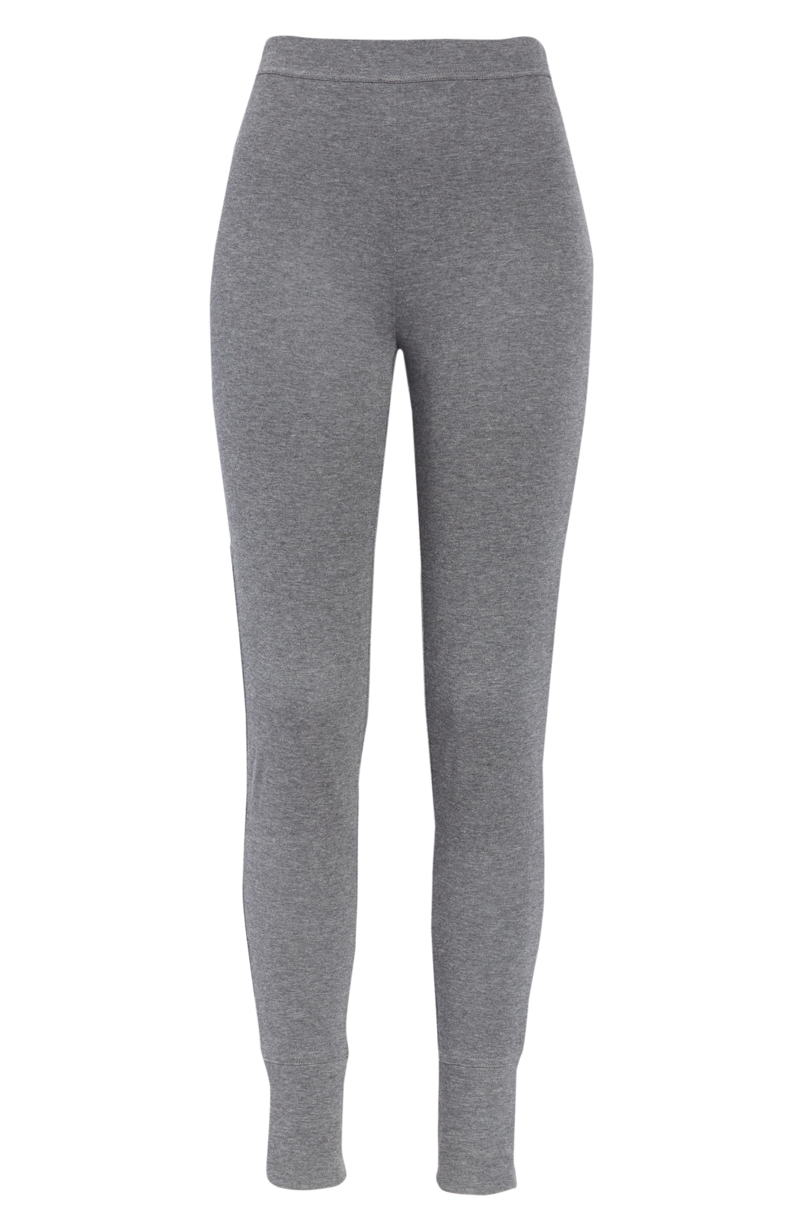 Heathered Cotton Blend Leggings,                             Alternate thumbnail 6, color,                             HEATHER CHARCOAL