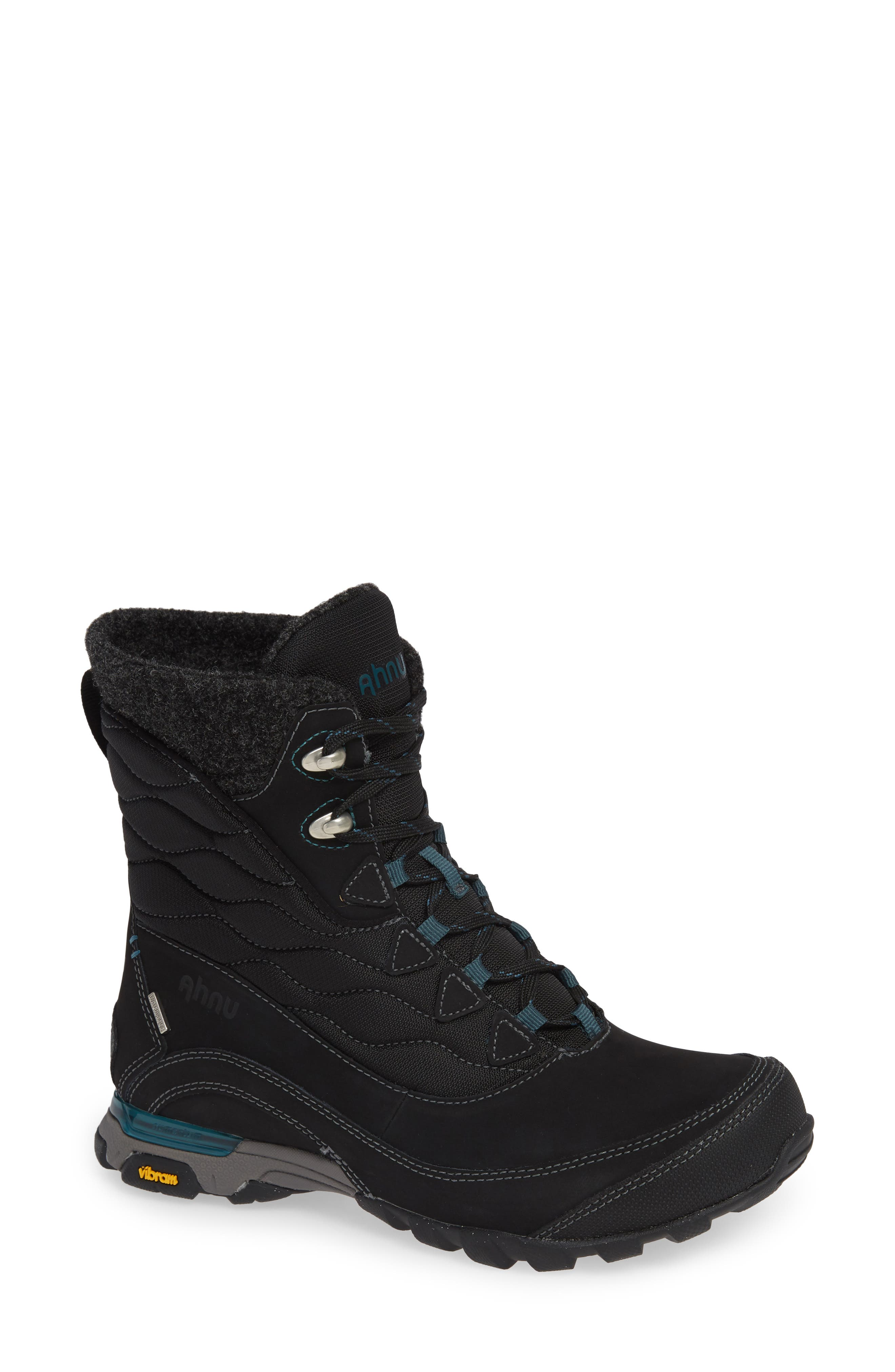 Ahnu by Teva Sugarfrost Insulated Waterproof Boot,                             Main thumbnail 1, color,                             BLACK LEATHER