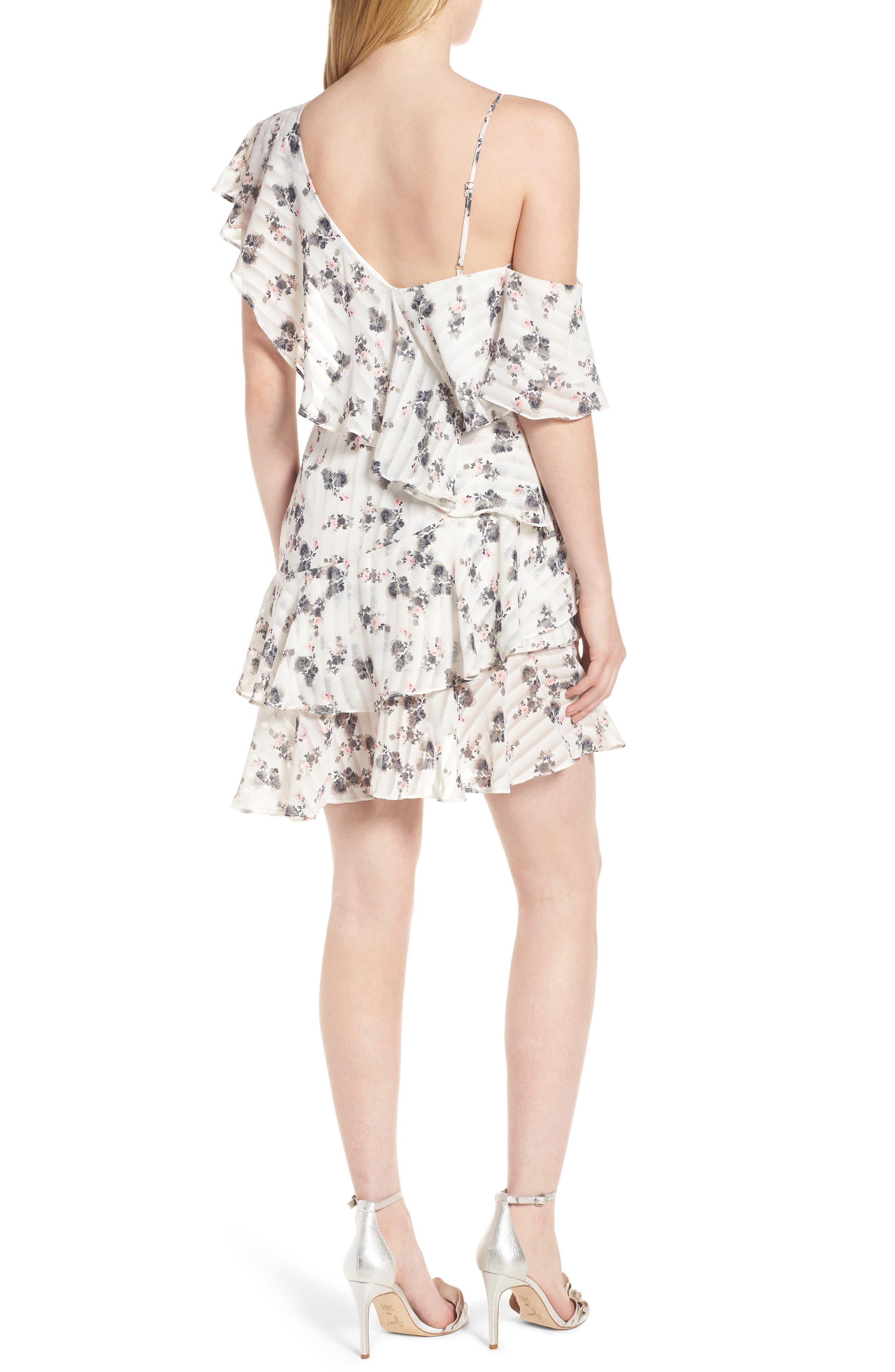 Bloom One-Shoulder Dress,                             Alternate thumbnail 2, color,                             100