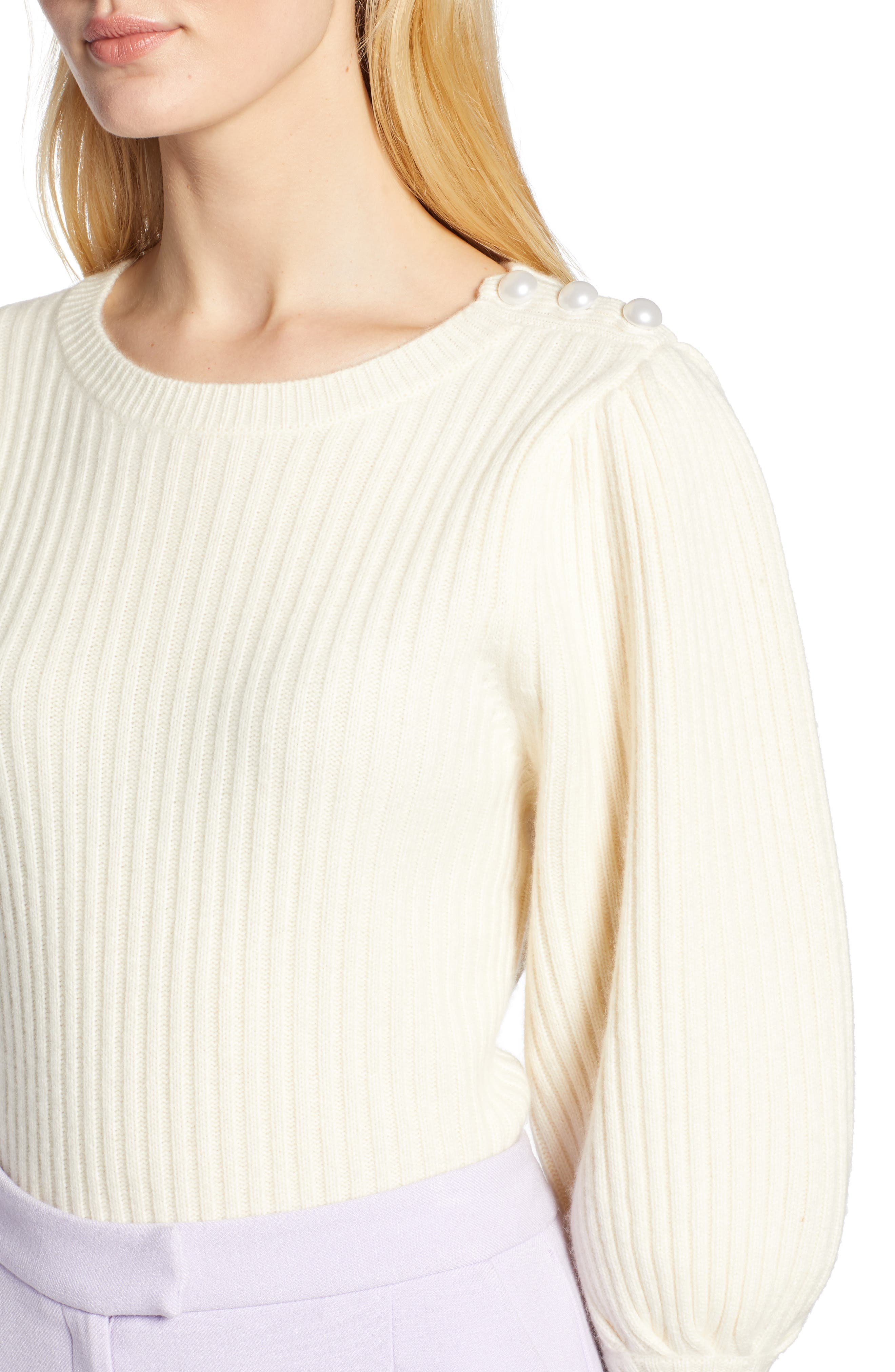 x Atlantic-Pacific Balloon Sleeve Wool & Cashmere Sweater,                             Alternate thumbnail 5, color,                             900