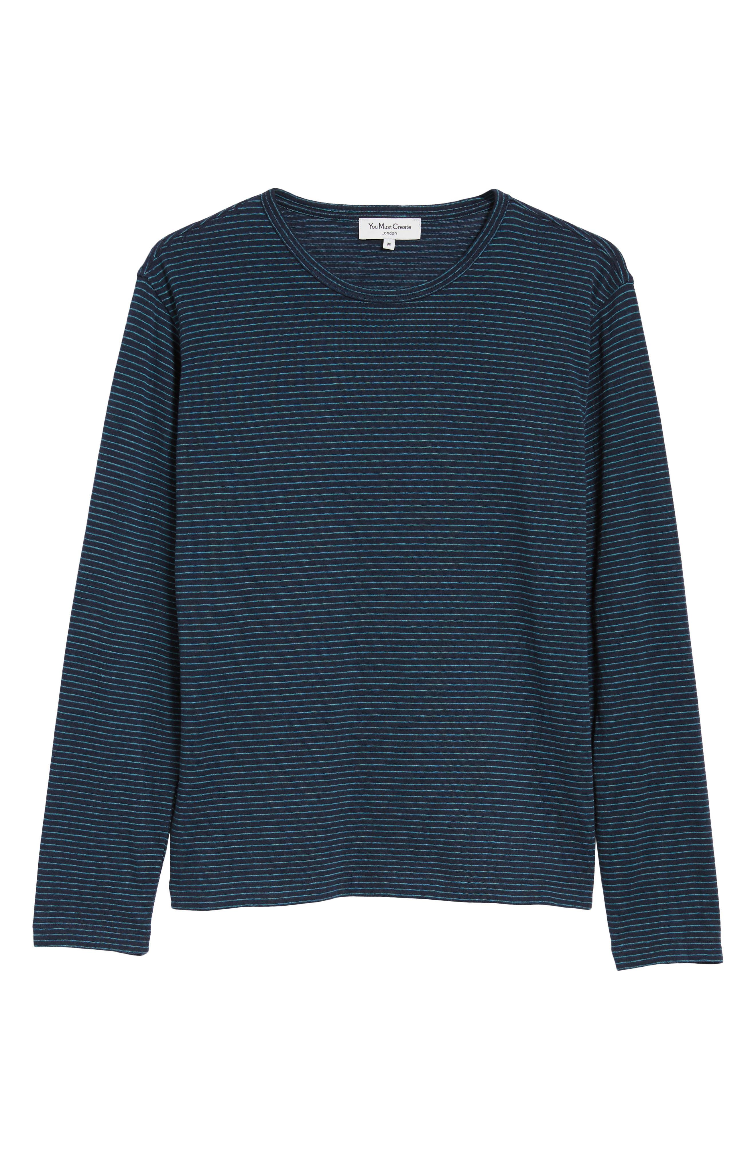 Narrow Stripe Long Sleeve T-Shirt,                             Alternate thumbnail 6, color,                             NAVY/ BLUE