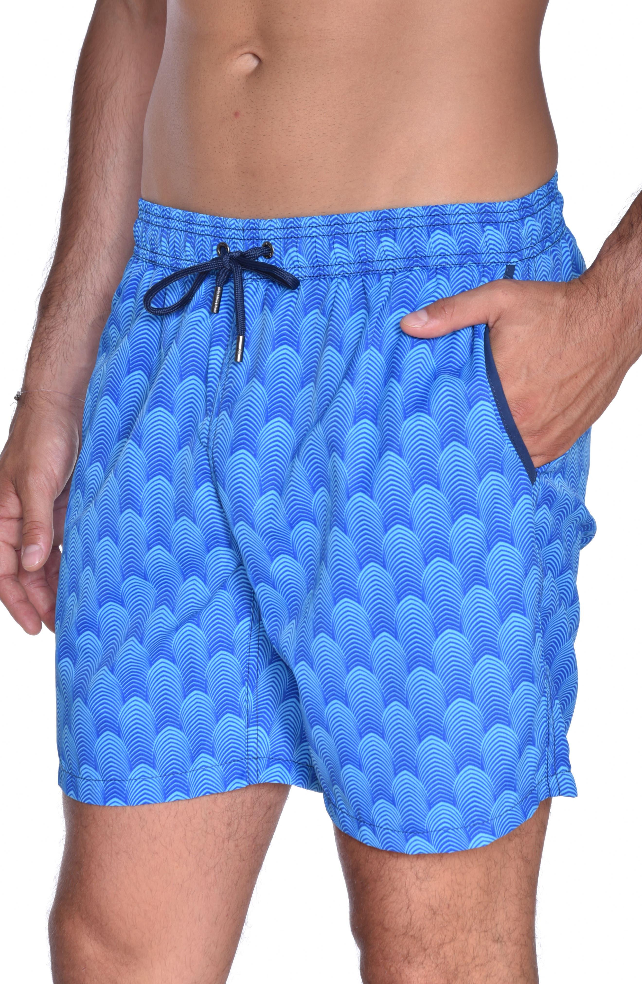 Mr. Swim Deco Print Swim Trunks,                             Alternate thumbnail 5, color,