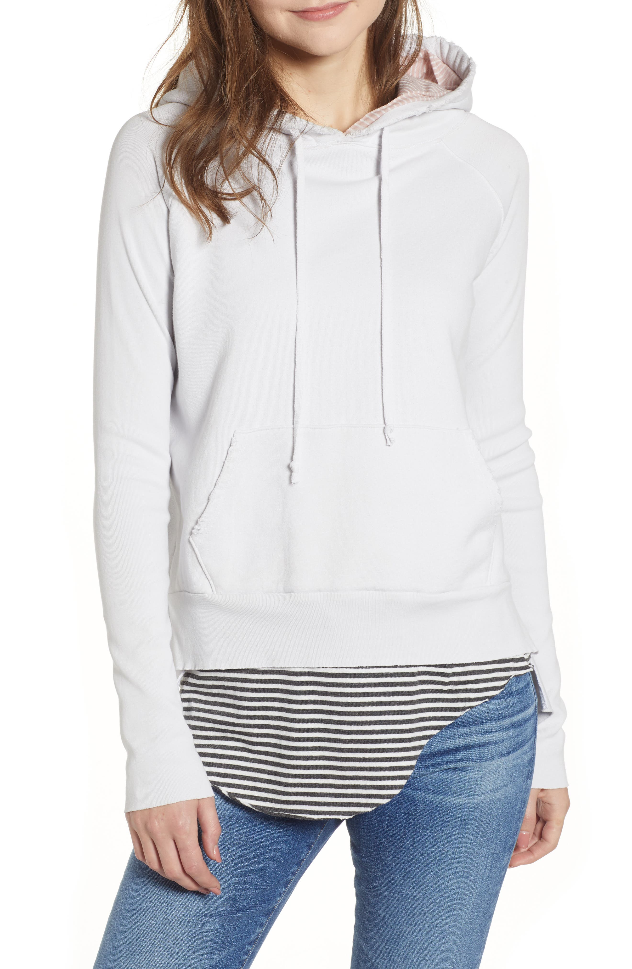 Hooded Cotton Fleece Pullover Hoodie in Dirty White W/ Contrast Hood