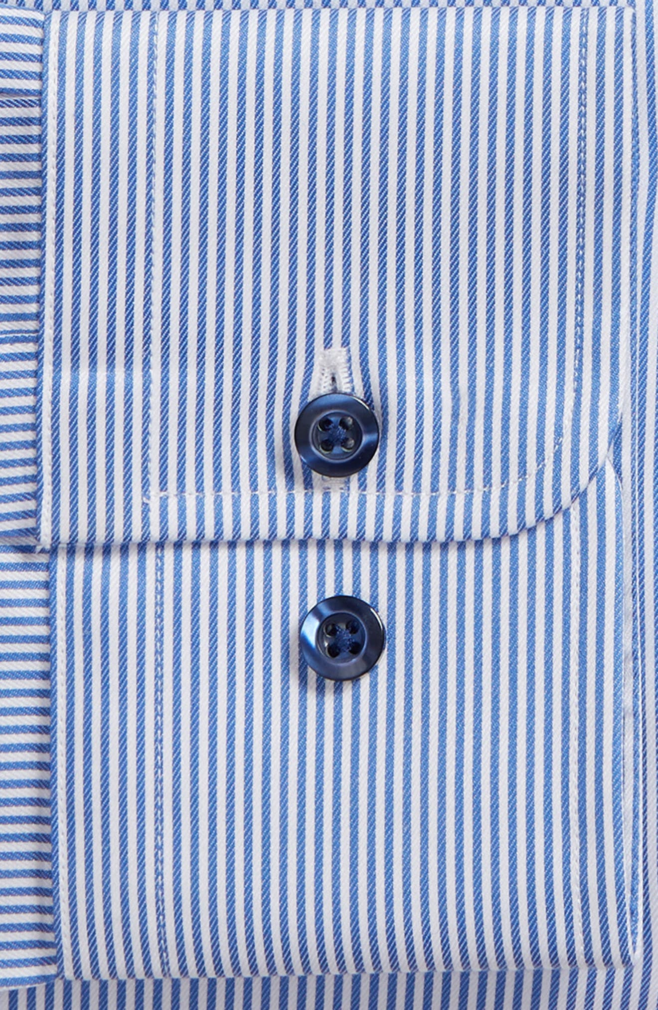 Trim Fit Stripe Dress Shirt,                             Alternate thumbnail 6, color,                             BLUE