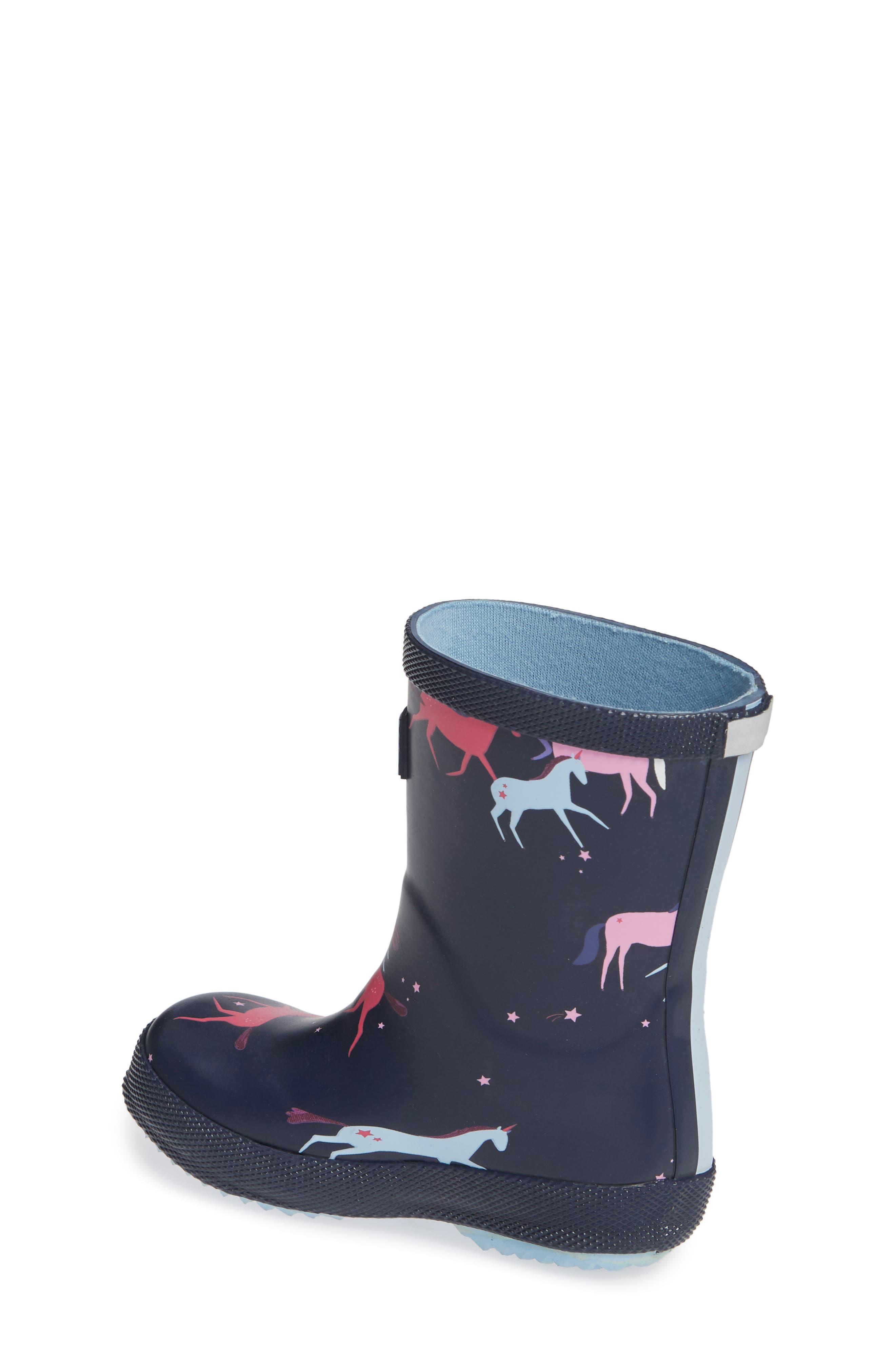 Baby Welly Print Waterproof Boot,                             Alternate thumbnail 2, color,                             NAVY MAGICAL UNICORN