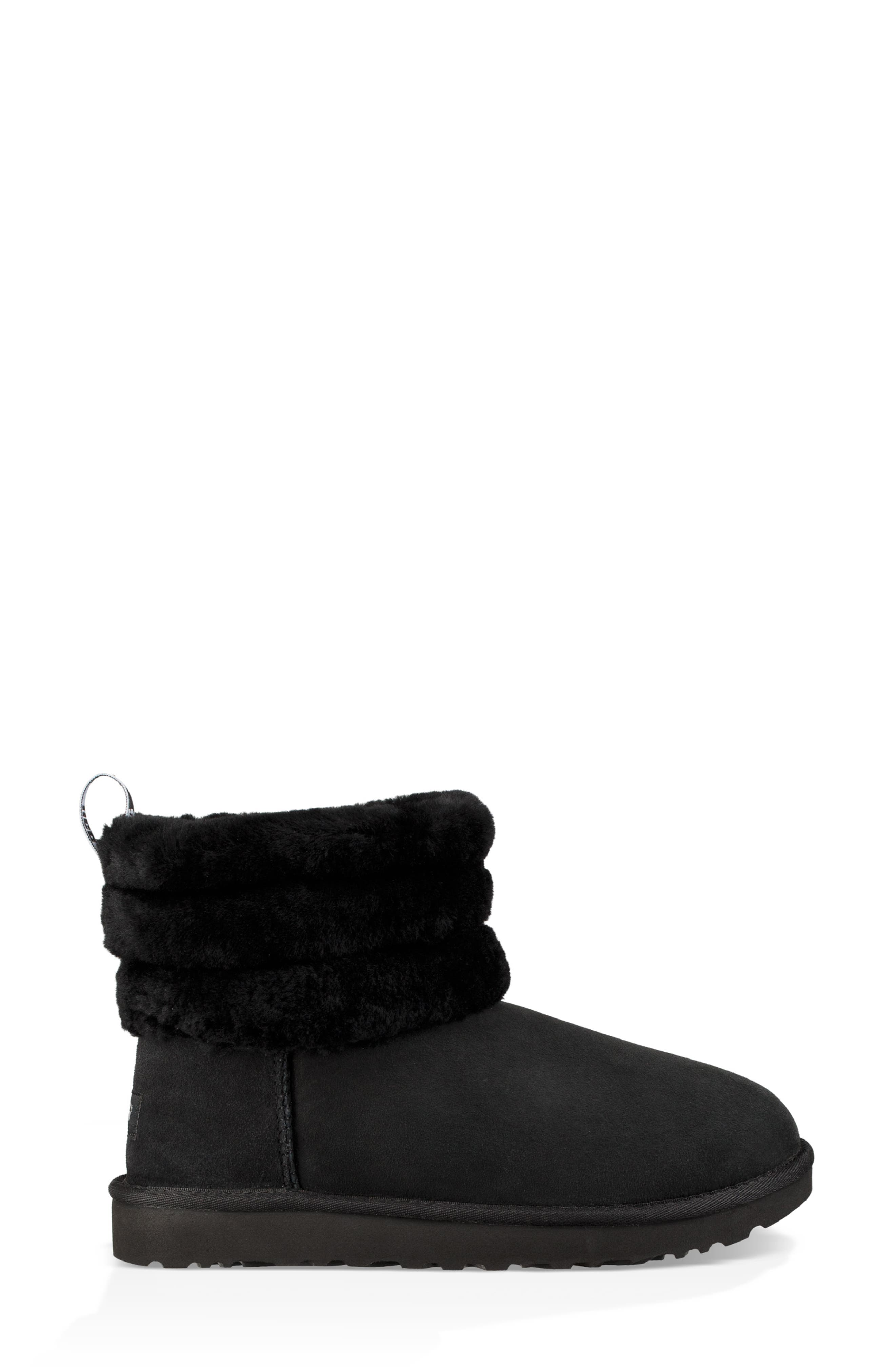 Classic Mini Fluff Quilted Boot,                             Alternate thumbnail 3, color,                             BLACK SUEDE