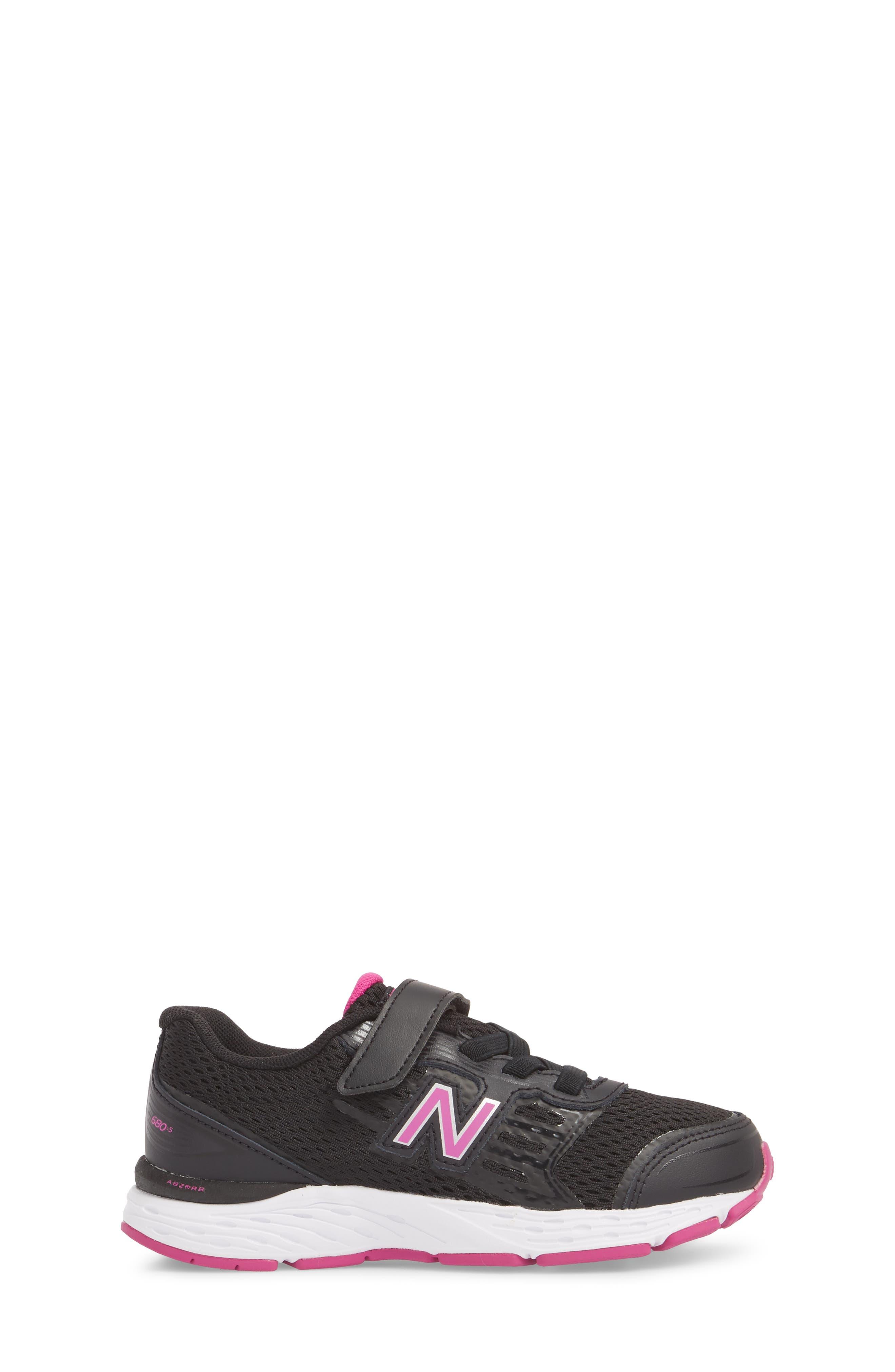680v5 Sneaker,                             Alternate thumbnail 3, color,                             BLACK/ AZALEA