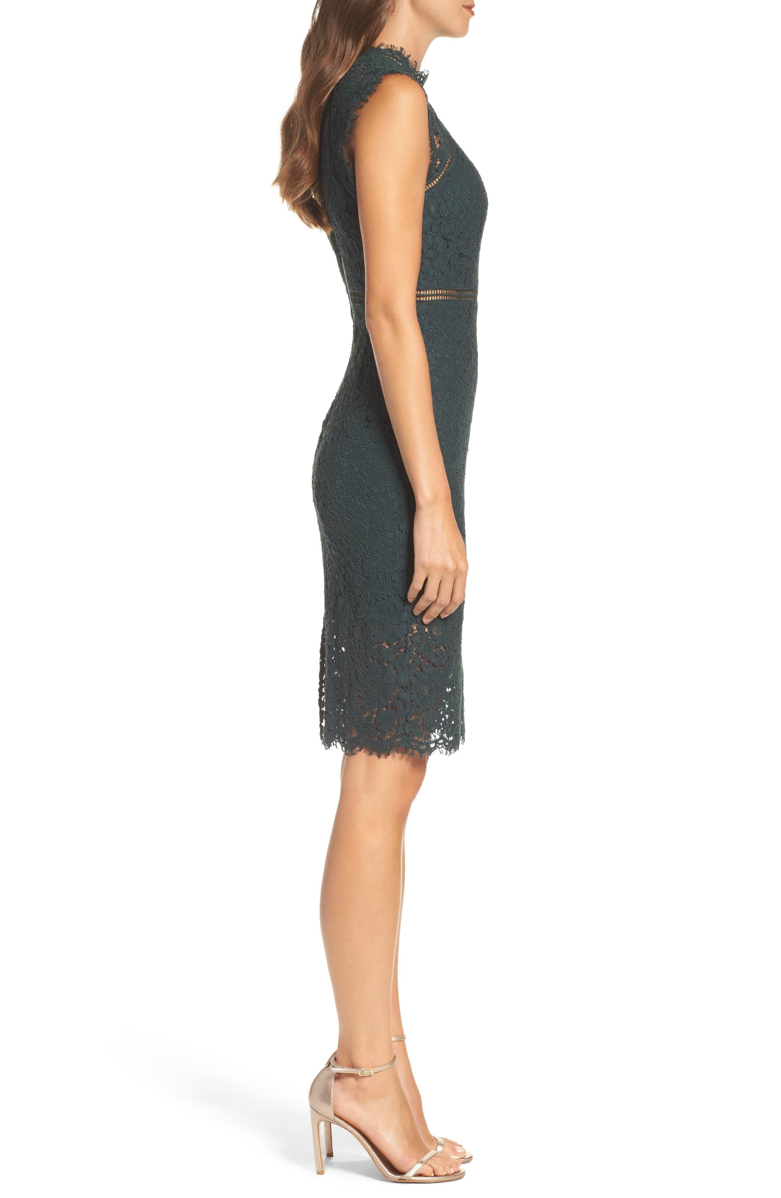 Lace Sheath Dress,                             Alternate thumbnail 3, color,                             FOREST
