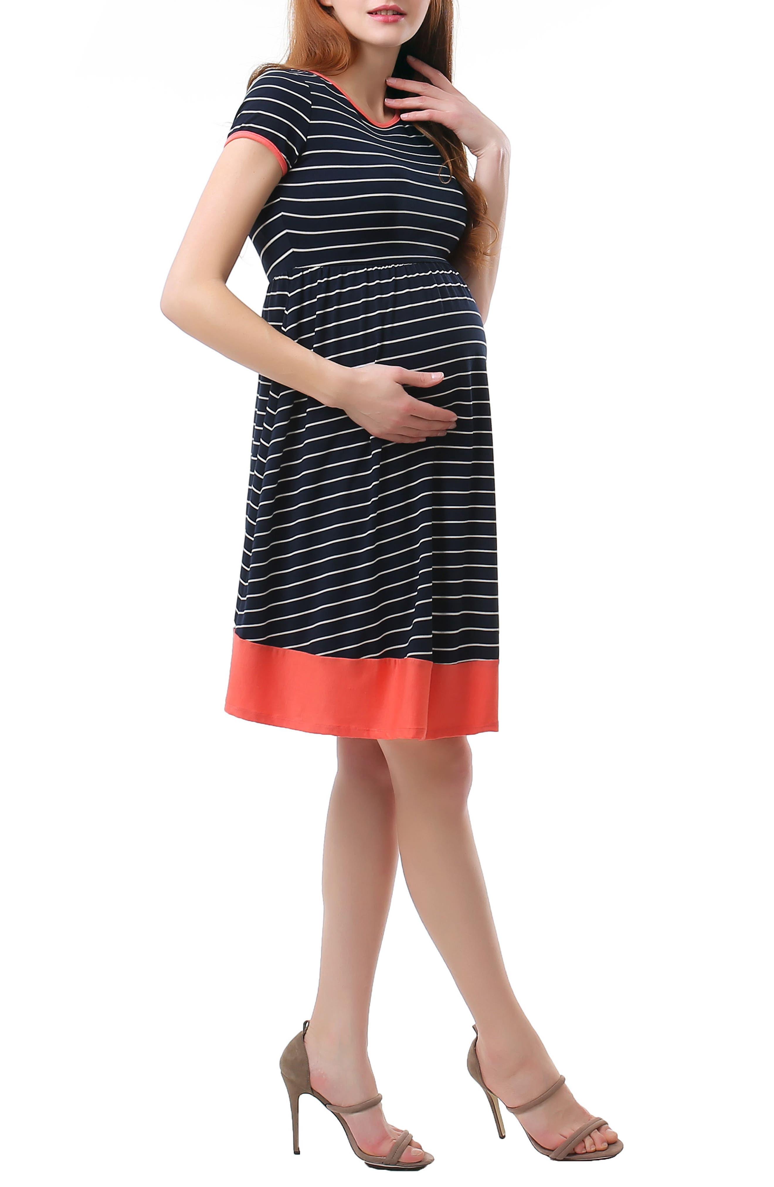 Kira Stripe Maternity Skater Dress,                             Alternate thumbnail 3, color,