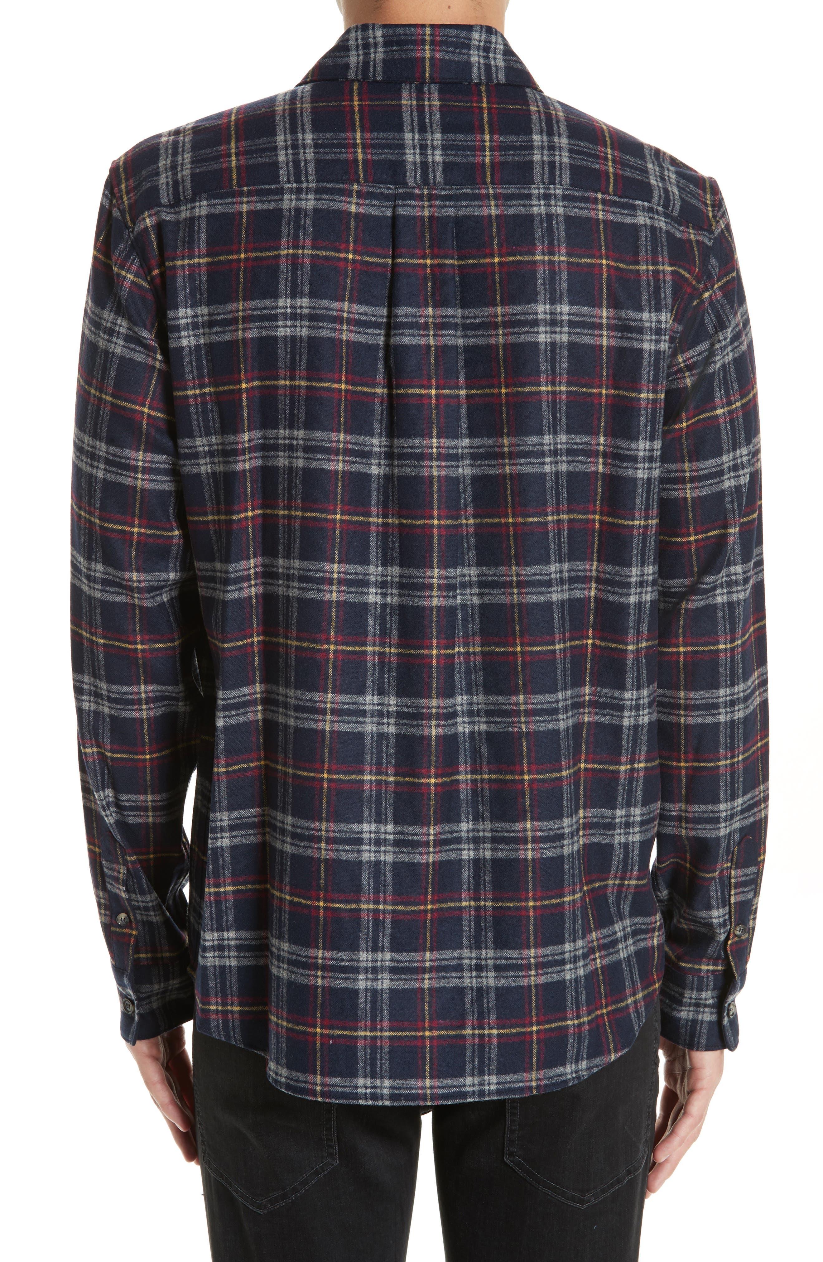 Check Flannel Shirt,                             Alternate thumbnail 3, color,                             IAK NAVY