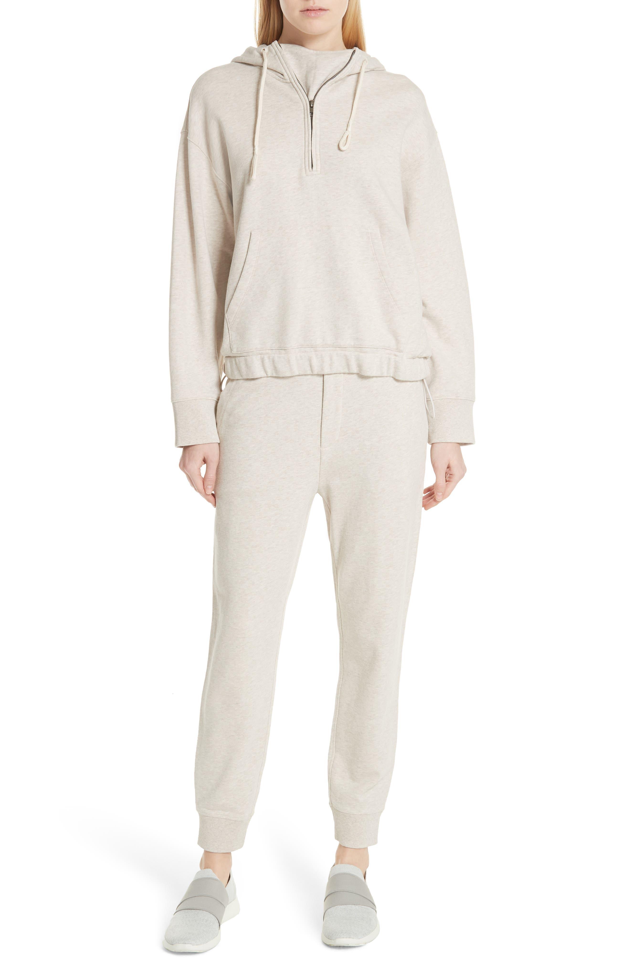 Half Zip Cotton Hoodie Sweatshirt,                             Alternate thumbnail 7, color,                             H BURLAP