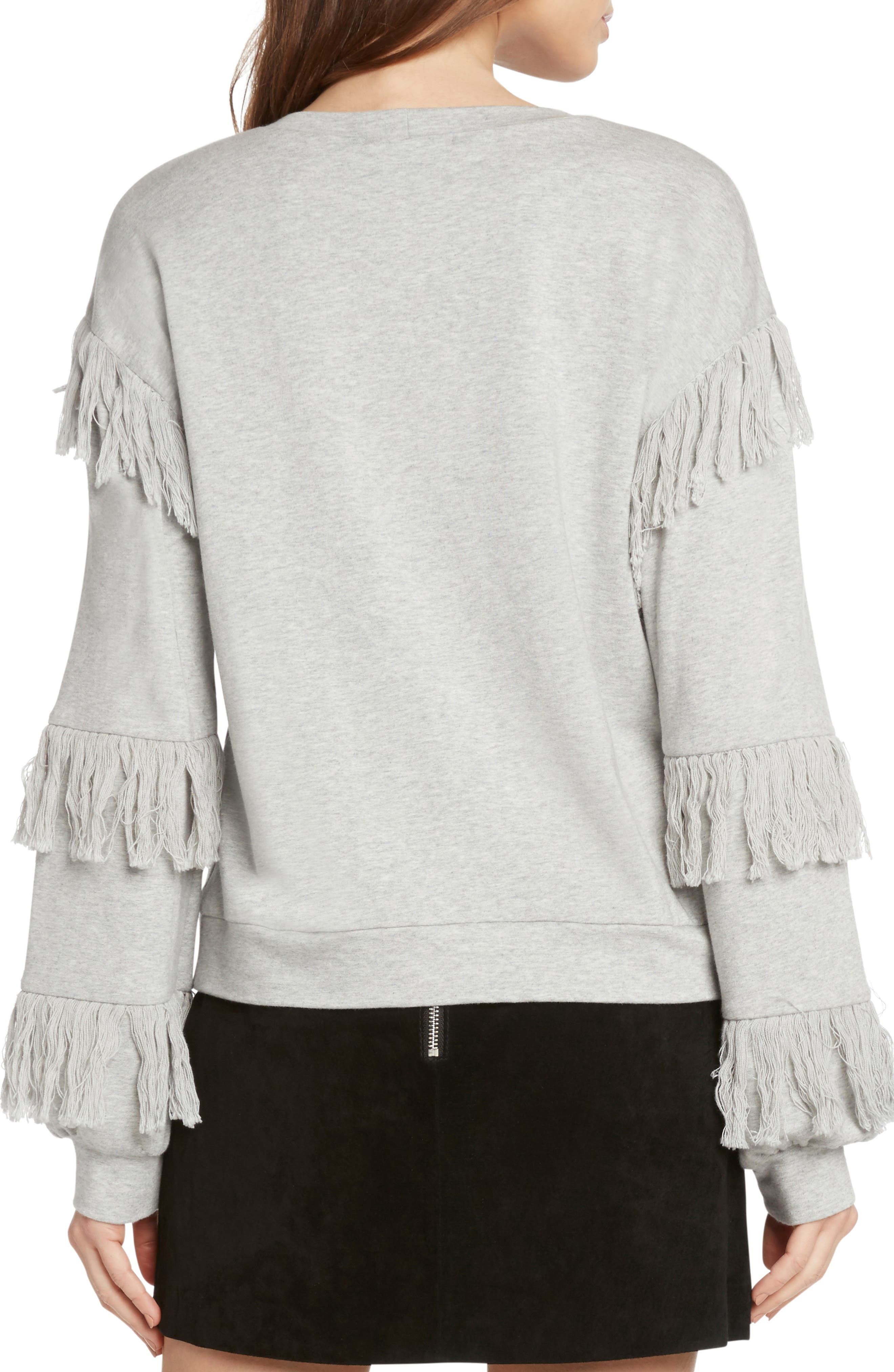 Fringed French Terry Sweatshirt,                             Alternate thumbnail 2, color,                             HEATHER GREY