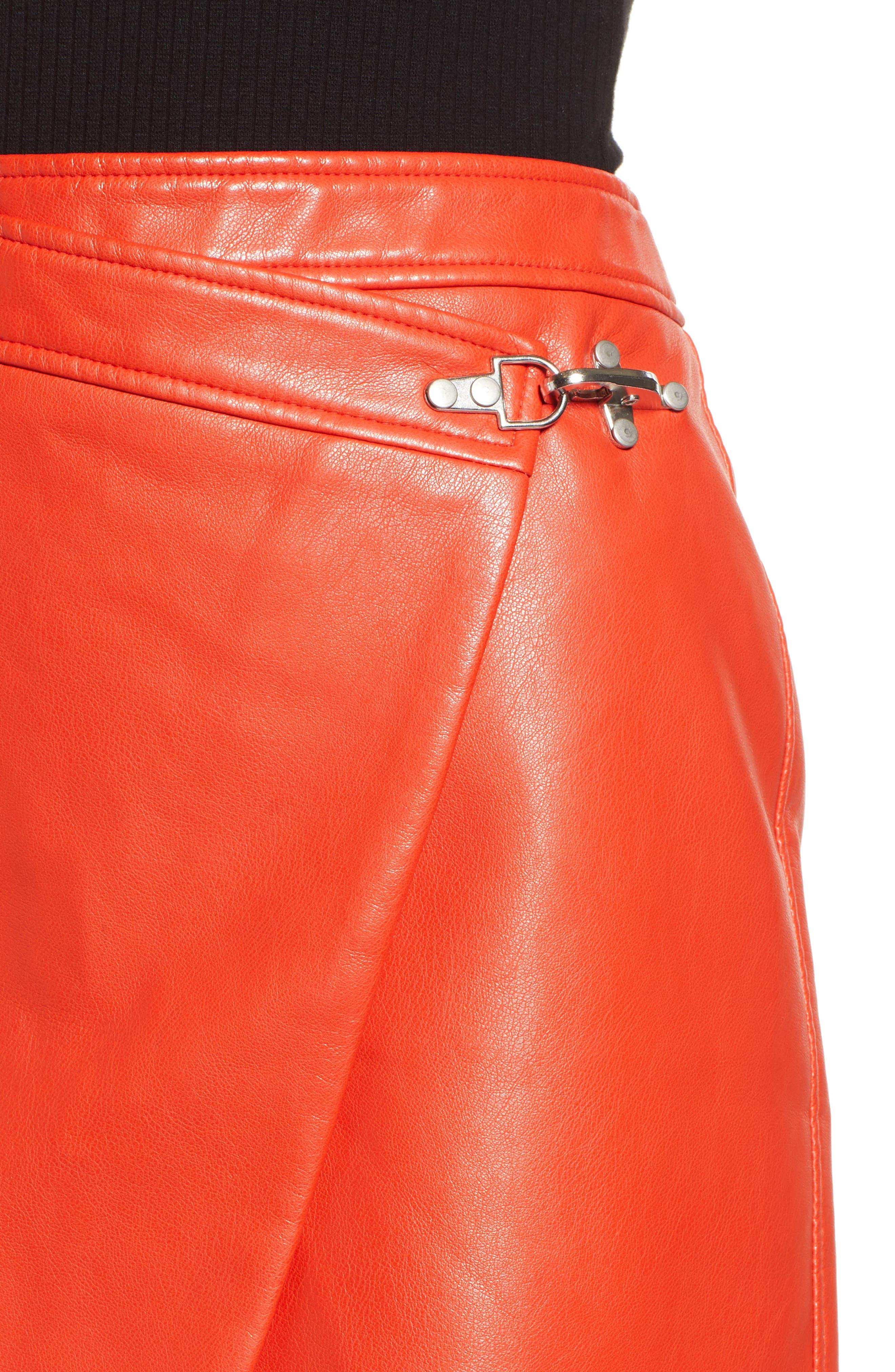 BLANKNYC,                             Asymmetrical Latch Detail Vegan Leather Miniskirt,                             Alternate thumbnail 4, color,                             SAFE WORD